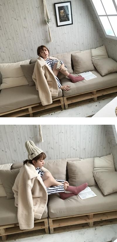 暖冬QQ捲毛翻領排釦外套  +  慵懶日常休閒條紋套裝