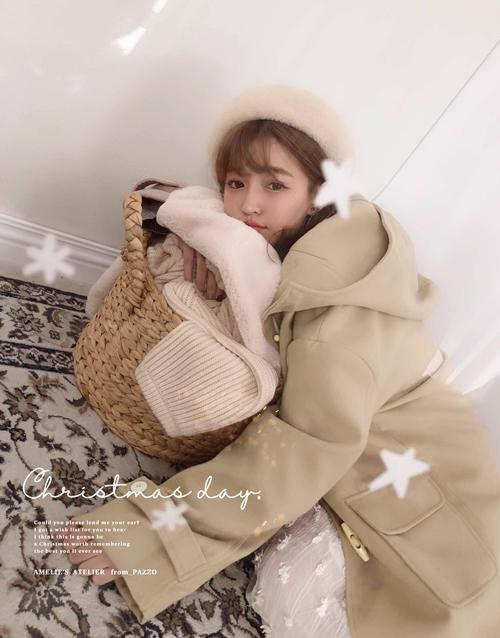 暖冬復古連帽牛角釦外套  +  NO 183. 簡約琥珀圈圈夾式耳環