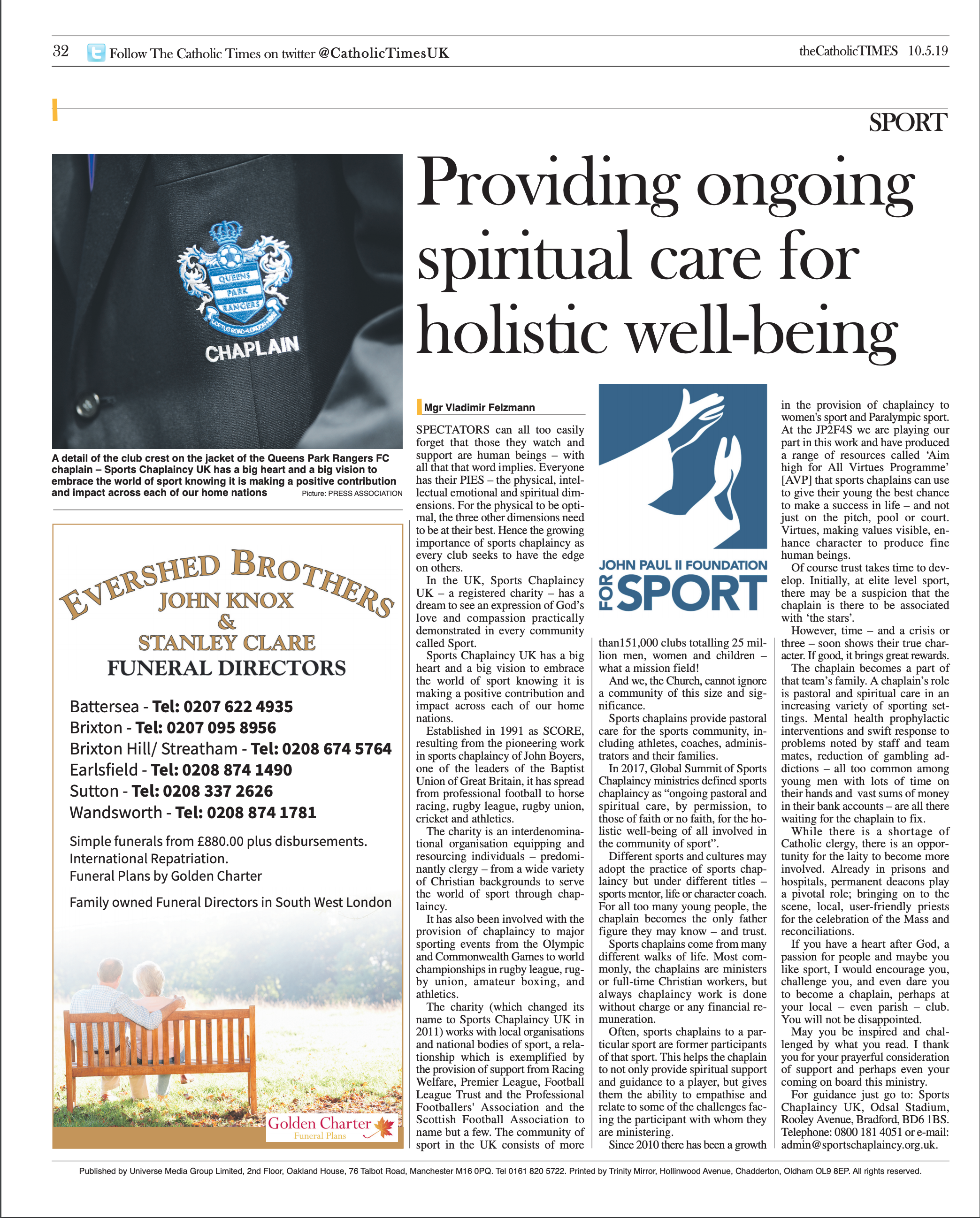 First published in theCatholicTImes on 10/05/2019.