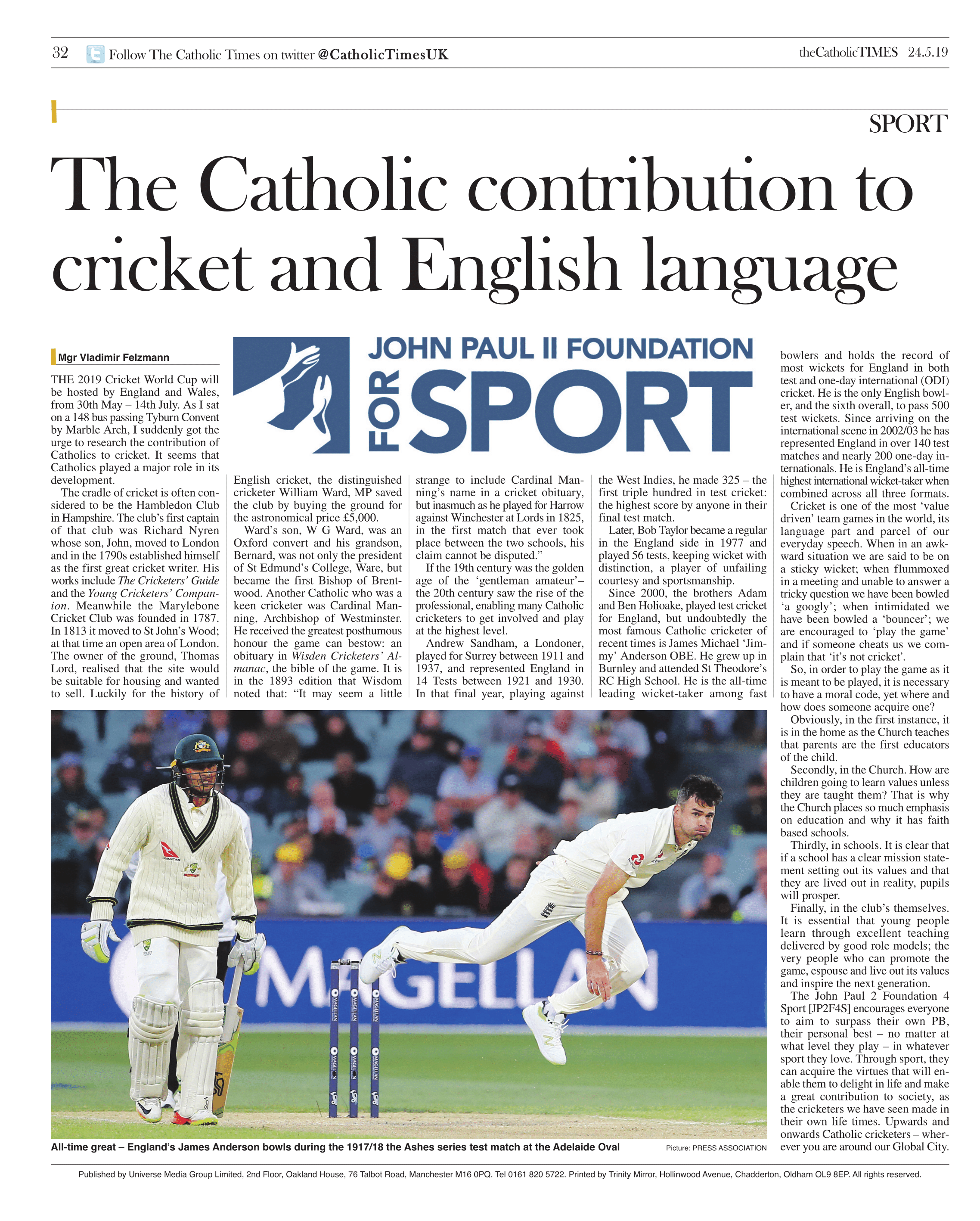 First published in theCatholicTimes on 24/05/2019.