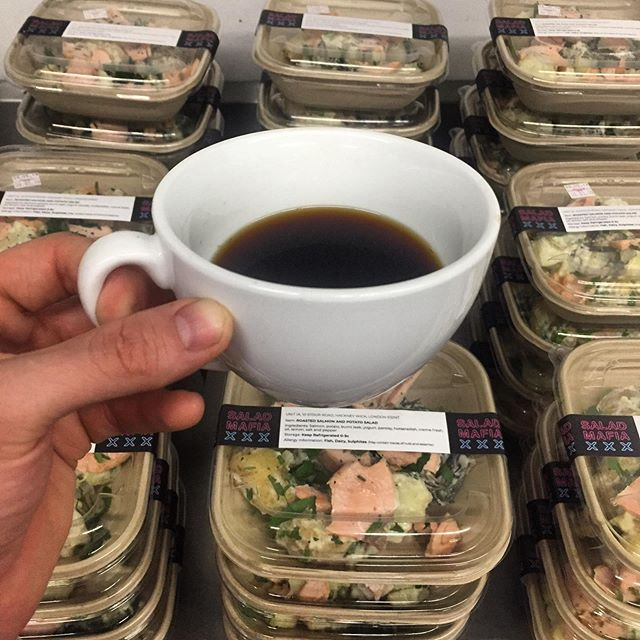 Getting ready for today's delivery's, Thank god for coffee🙏🏻🔪😎☕️ #london #food #salads #coffee #saladmafia #lifestyle