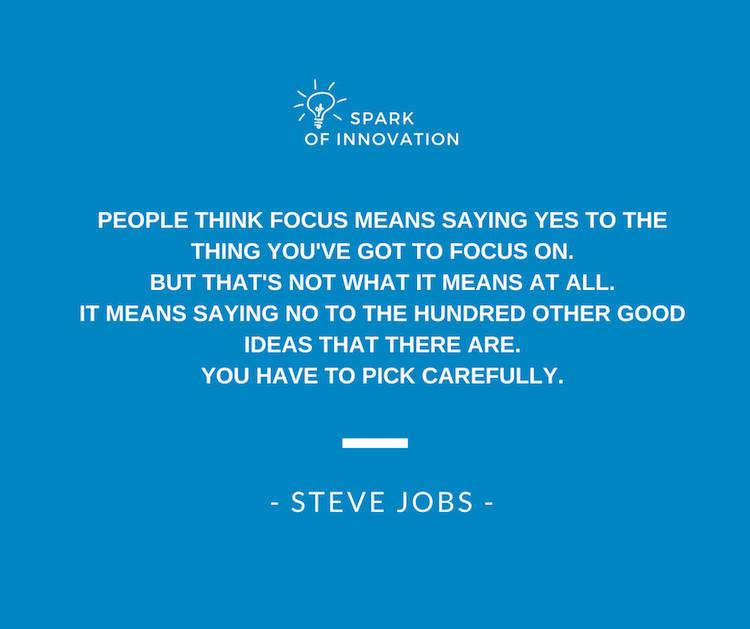 Quote over focus van Steve Jobs