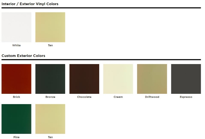 Colors and finishes are for representative purposes only and may vary on actual product. See your Universal Window Direct Dealer for color swatches. Windows with exterior colors feature a white or tan vinyl interior.