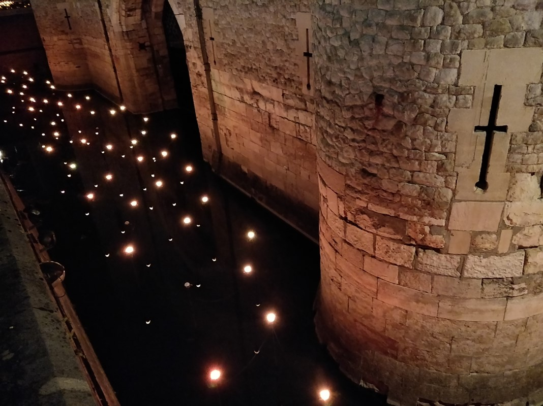 Beyond the deepening Shadows - To complete the ring of light around the Tower we also installed an LED array that simulated the colour of the torches around the inaccessible traitors gate.