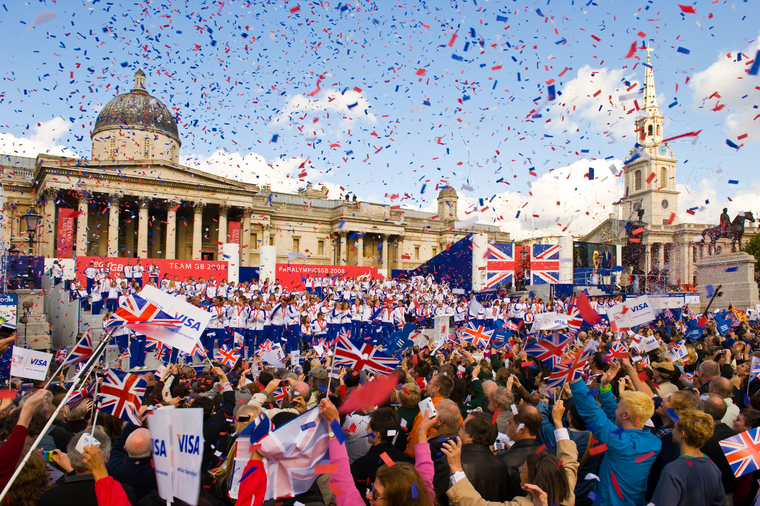 The British Athletes return from Rio - We were asked to cover an audience across with red, white and blue confetti.We launched 24 kilos of coloured paper confetti with compressed air cannons.