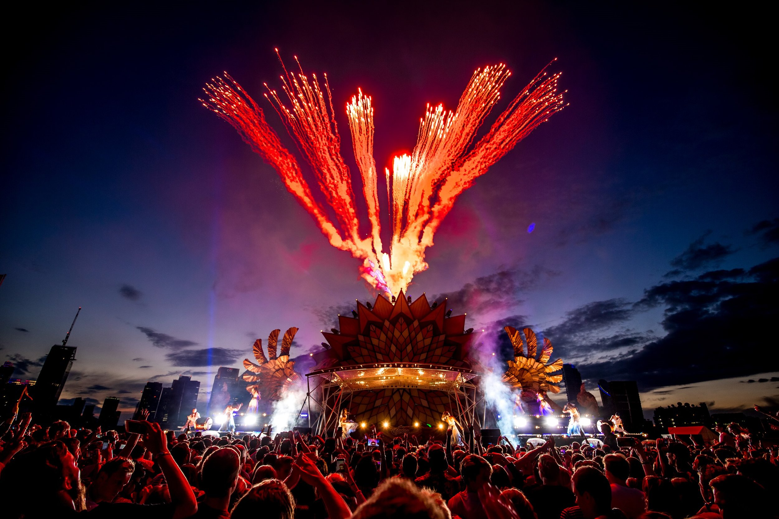 East London Dance Event - Close proximity pyrotechnics and flame effects for a dance event beside the Millennium Dome