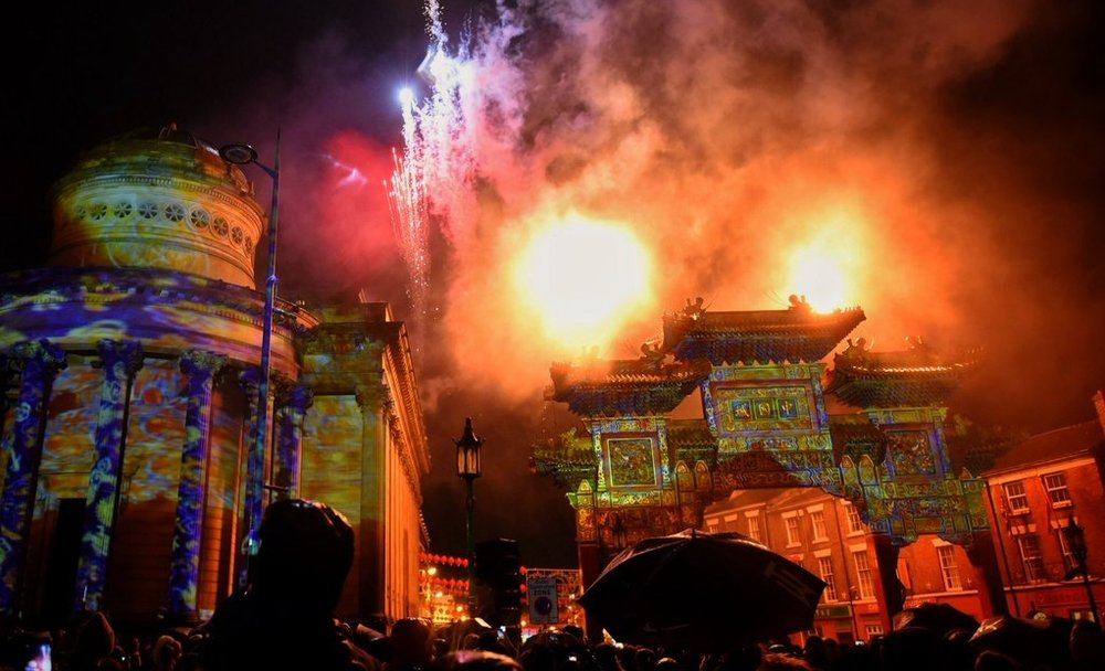 Liverpool Chinese New Year - We were approached by Liverpool council to produce debris free pyrotechnic and fire elements as an integrated part of an imaginative projection mapping show. The show was created by Illuminos at Liverpool's China Gate, to celebrate the start of the Year of the Dog.These effects were fired above the open streets from a rooftop and two mechanical lifts. We will be returning to The China Gate with Illuminos to celebrate the start of the Year of the Pig.