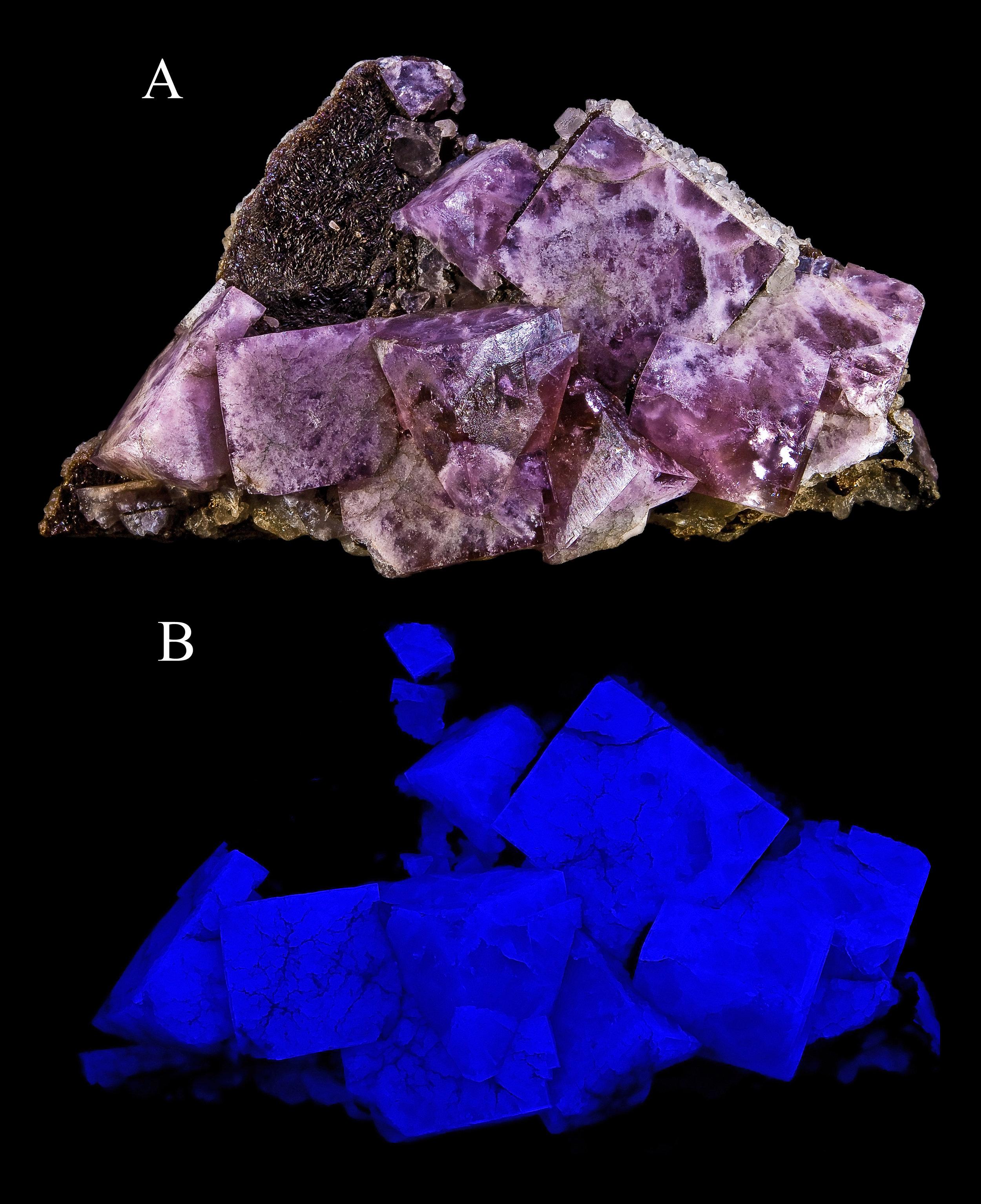 Dato curioso - La fluorita es un mineral que fluorece al ser irradiado con luz ultravioleta.