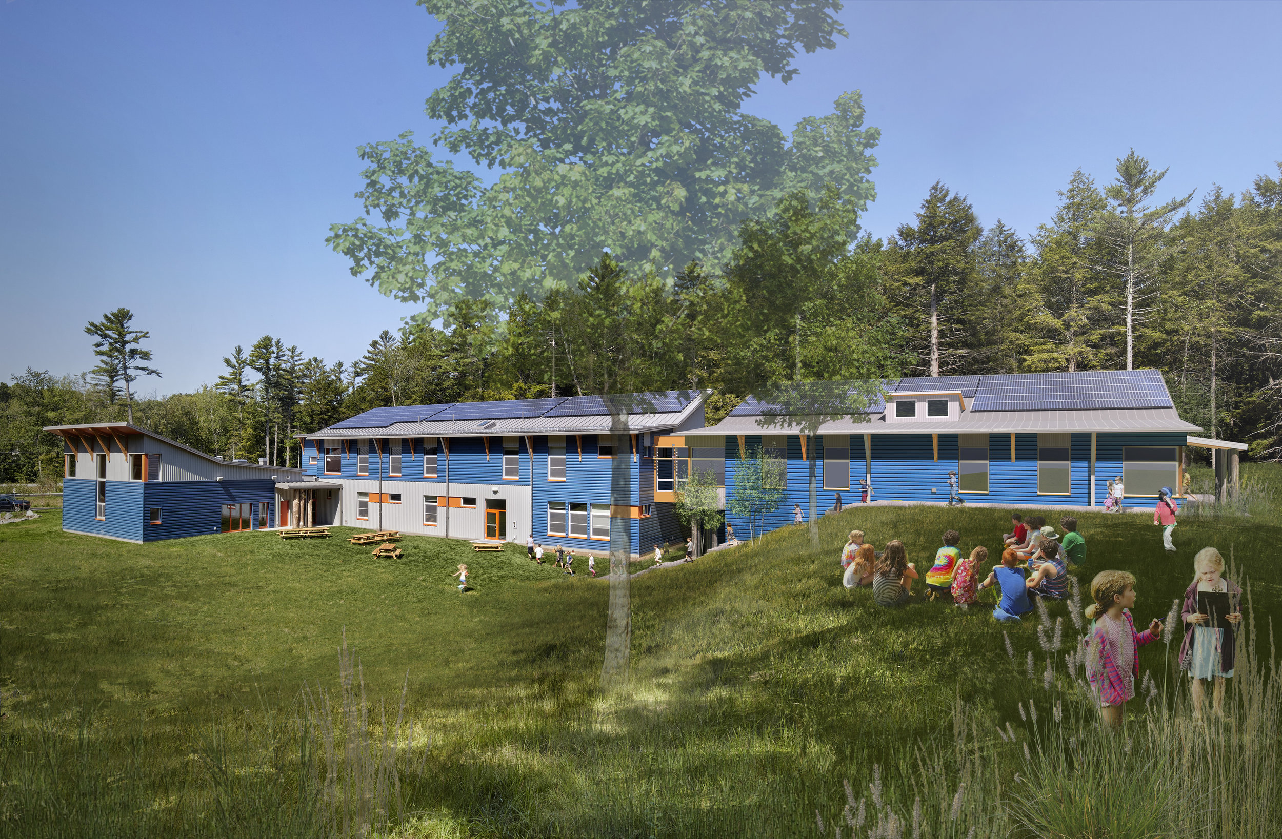 This rendering shows the proposed middle school wing on the right.