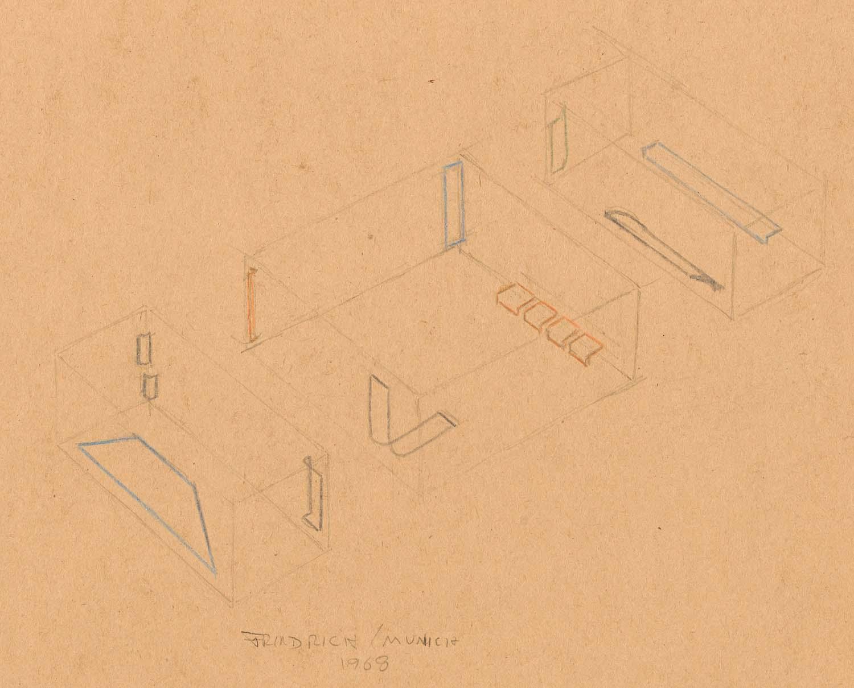 Drawing for installation at Galerie Heiner <br/>Friedrich, Munich