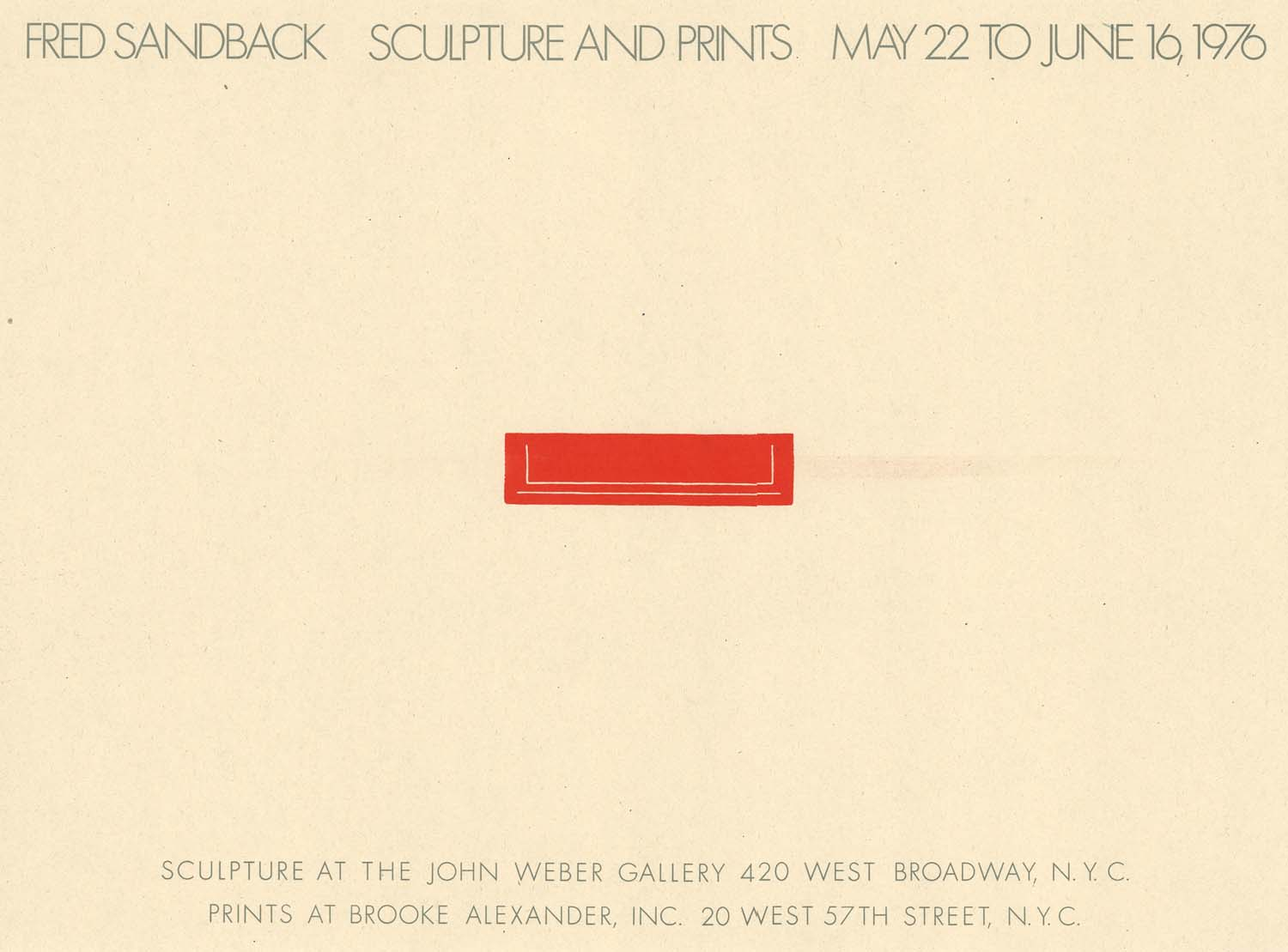John Weber Gallery, New York, poster