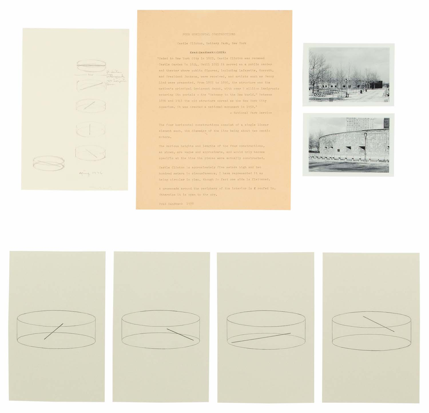 <i>Four Horizontal Constructions, Project for Castle <br/>Clinton</i>, New York, 1978