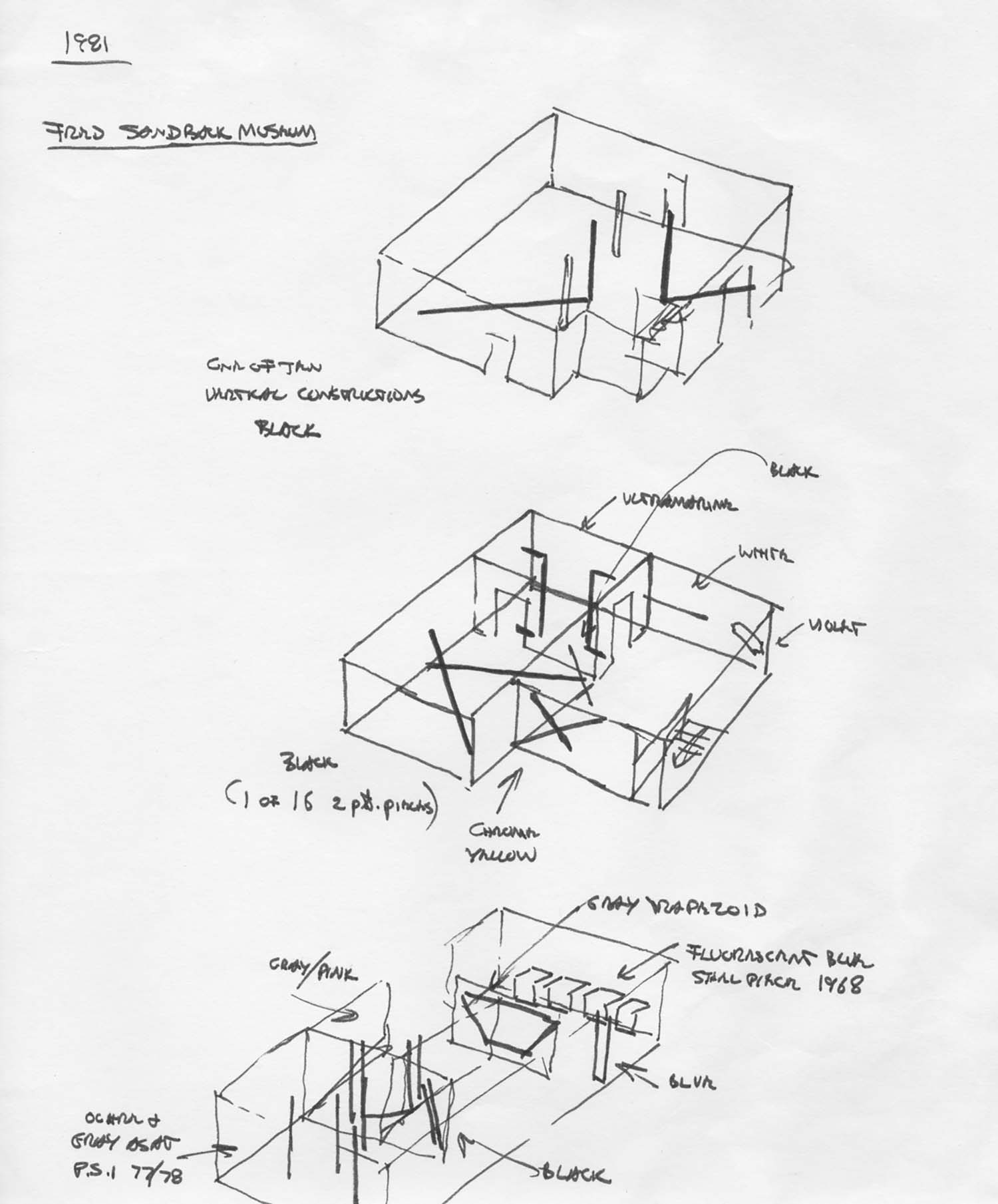 Sandback's diagram for the first exhibition at the <br/>Fred Sandback Museum, Winchendon, MA