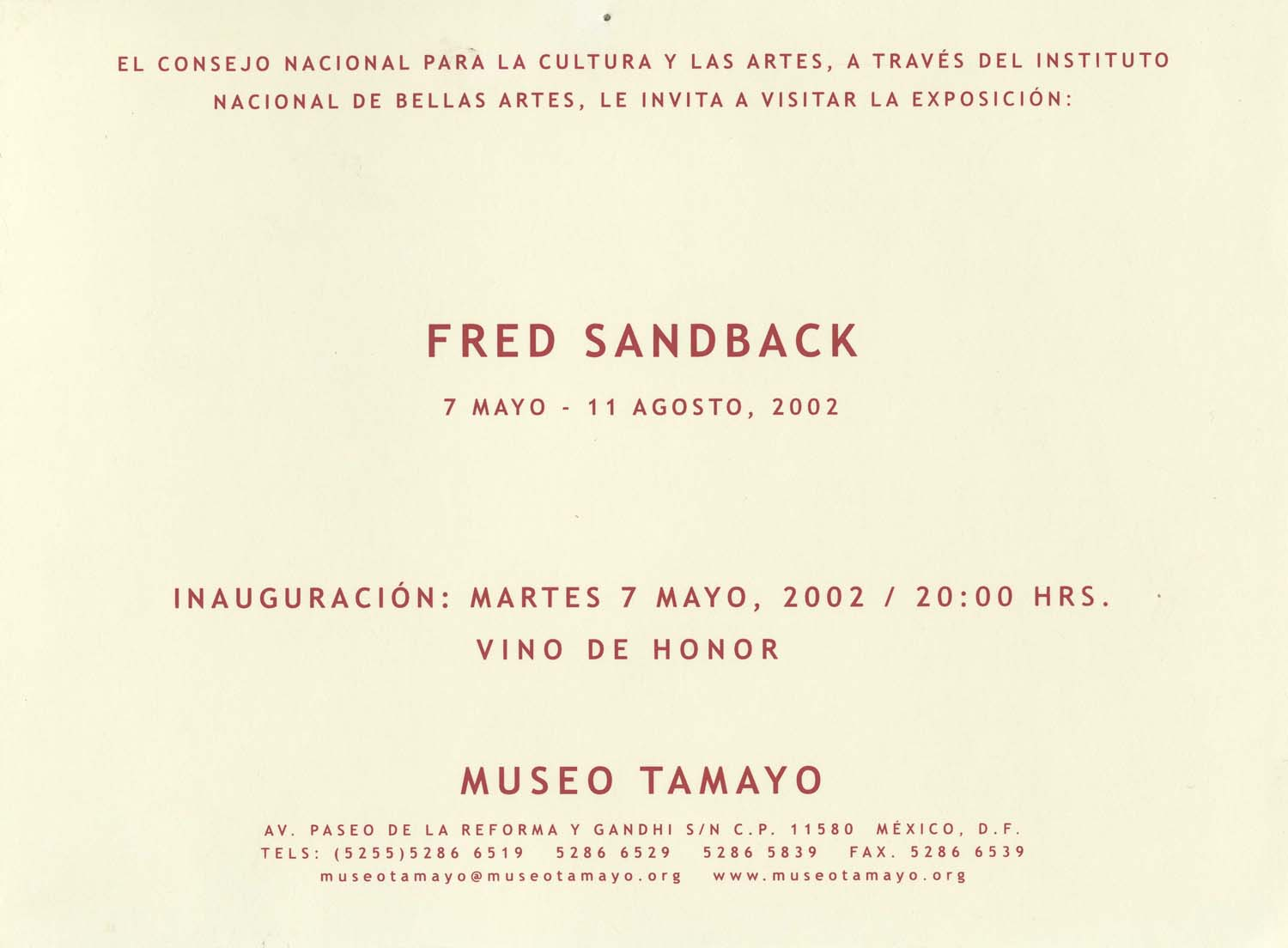 Museo Tamayo, Mexico City, invitation card