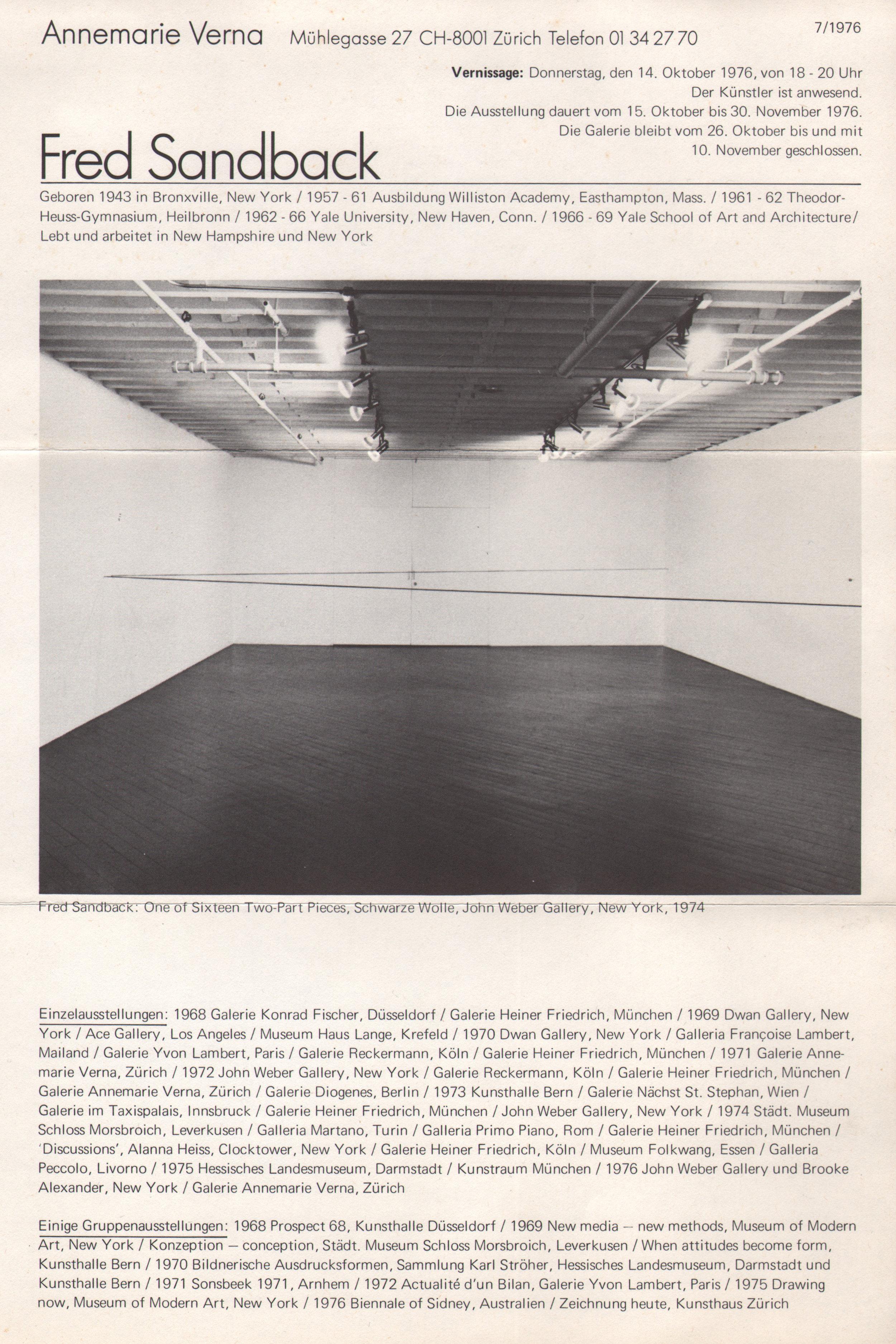 Annemarie Verna Galerie, Zurich, invitation card