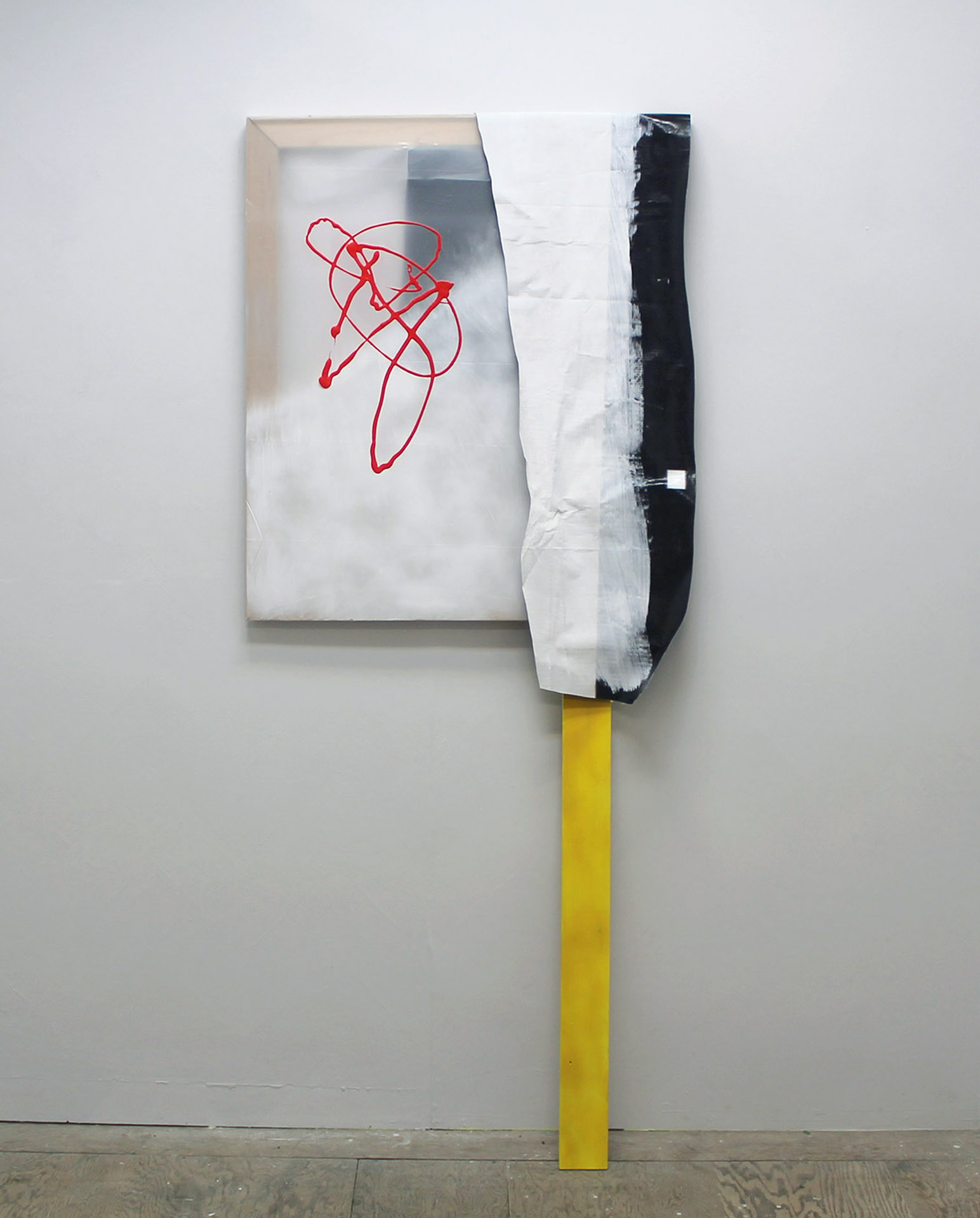 Big Abstract with Yellow,  2015, acrylic and spray paint on plastic, painted wood