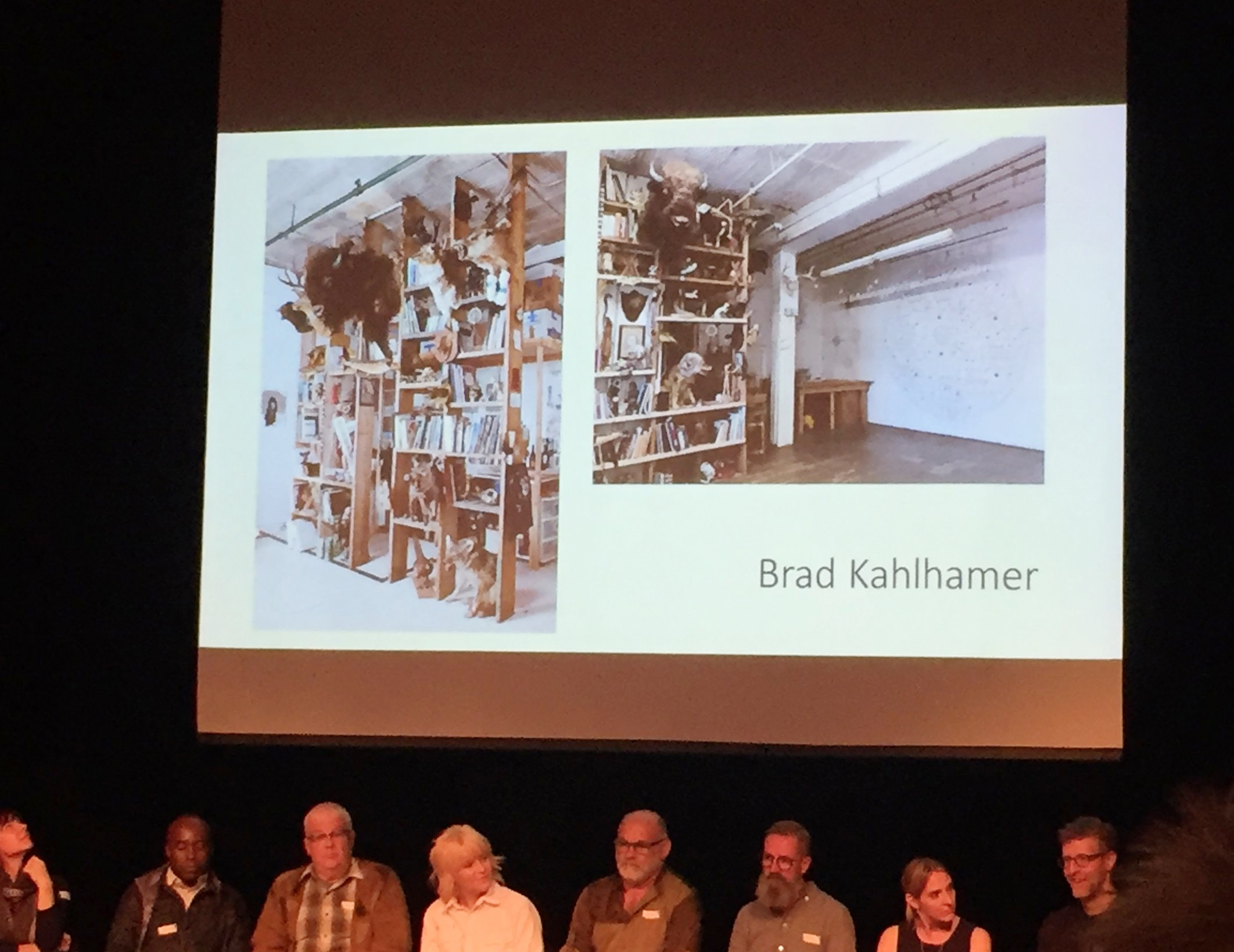 Image from panel discussion, view of Brad Kahlhamer's studio