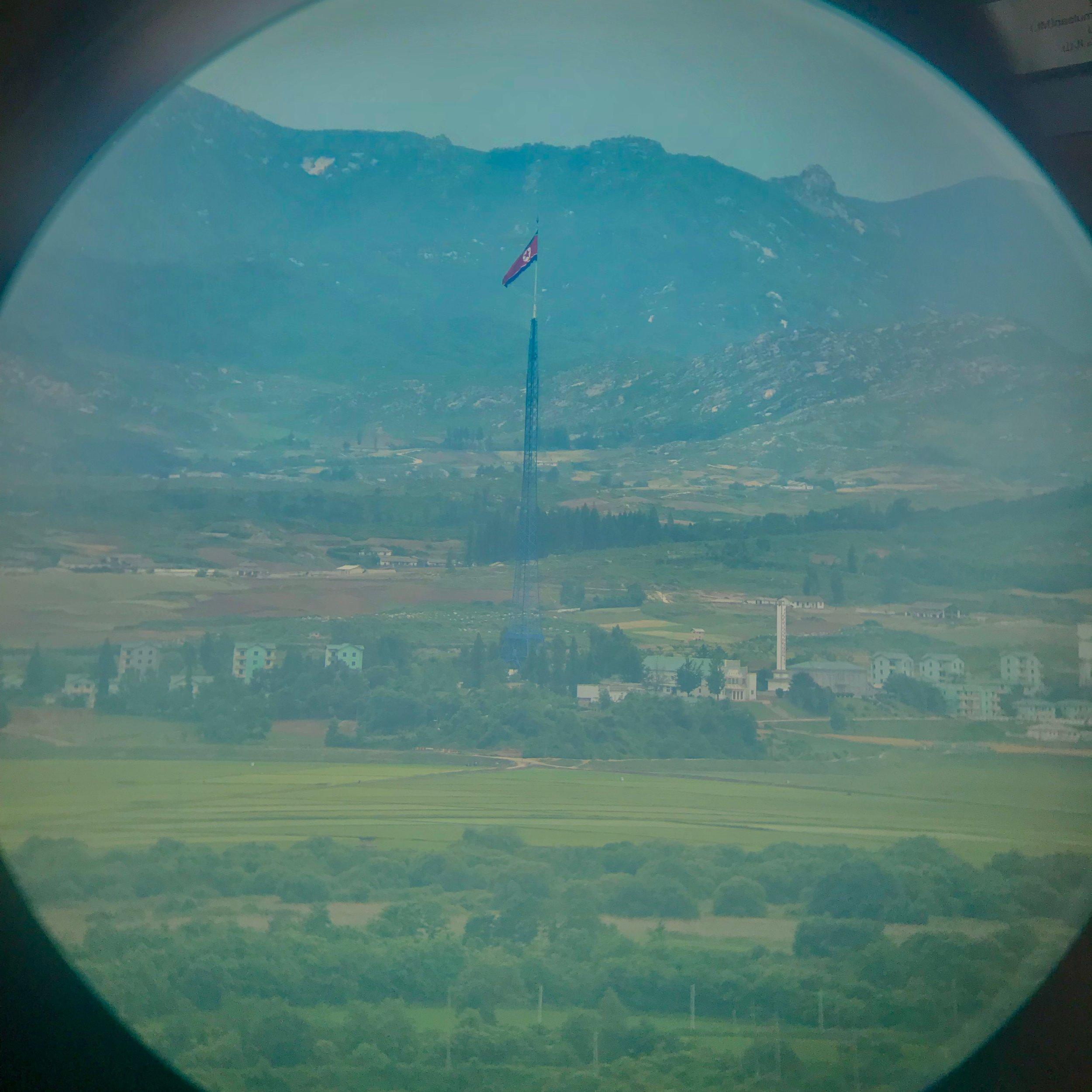 A view through binoculars