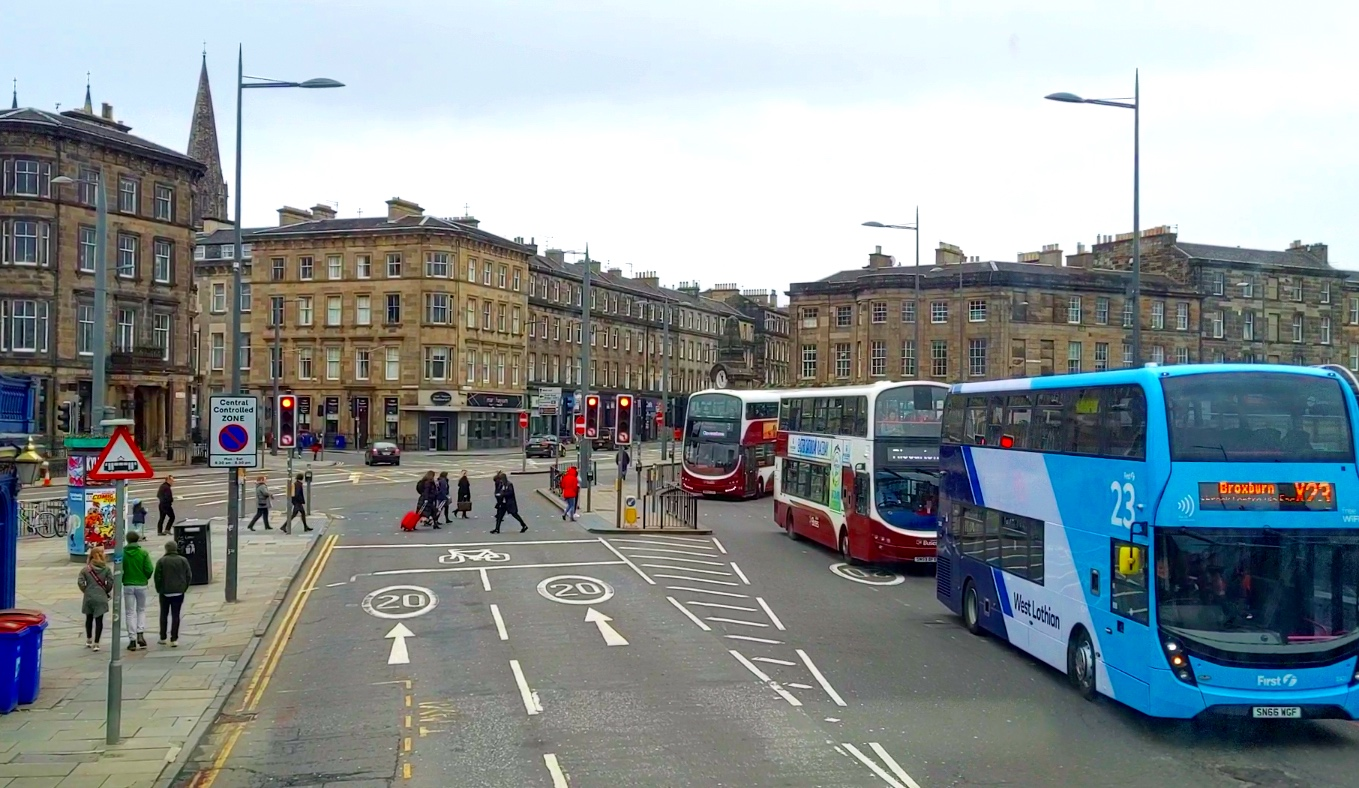 Lothian's Buses are Red. Blue busses are operated by a different company.