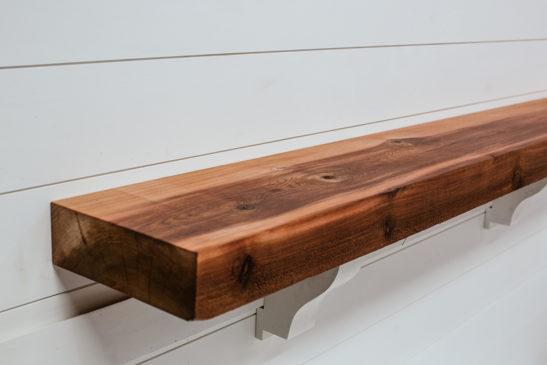 Corduroy Timber Mantel with Heritage Finish from Water's Edge Woods