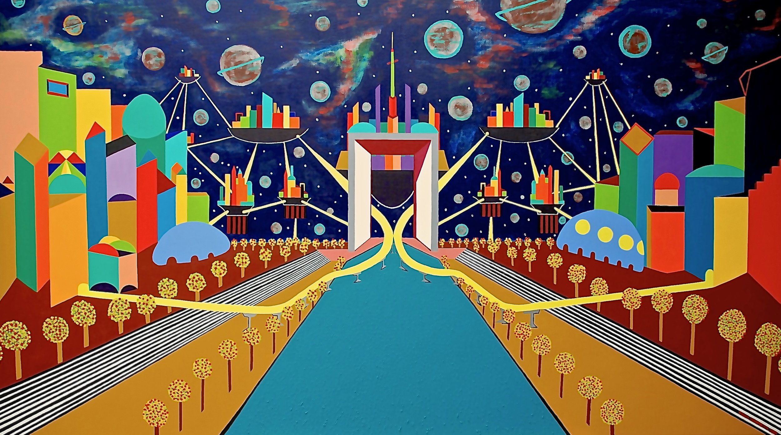 Sky Cities   Sky Cities, 2013, acryl / Belgian linen 43,3 x 63,0 inch  Copyright © F.Dammers Fine Art - All rights reserved.