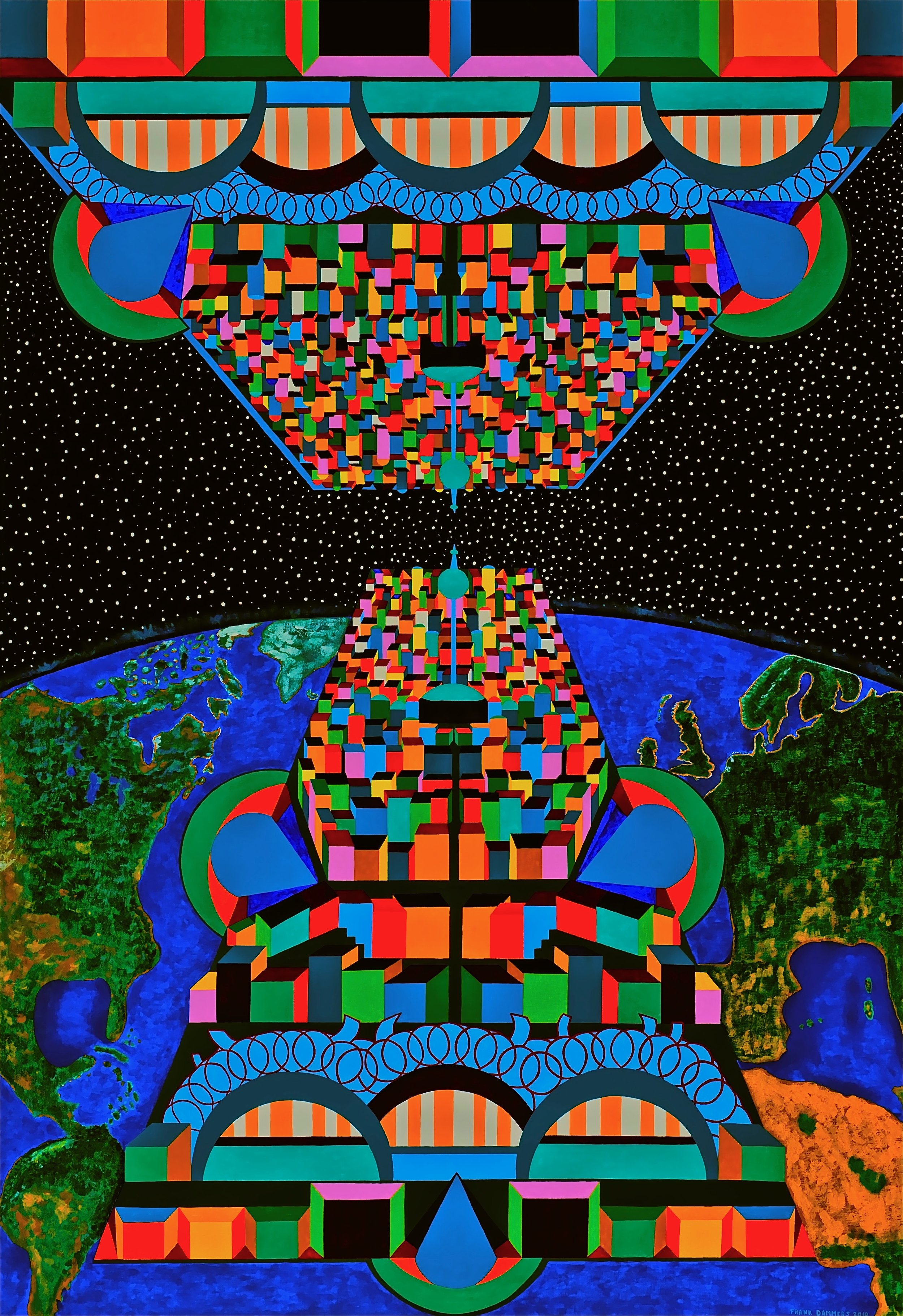 Space Cities   Space Cities, 2010 ,acryl / Belgian linen 43,3 X 63,0 inch  Copyright © F.Dammers Fine Art - All rights reserved.