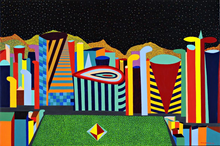 Imagination City   Imagination City, 2007, acryl / Belgian linen, 39,4 x 59,0 inch  Copyright © F.Dammers Fine Art - All rights reserved.