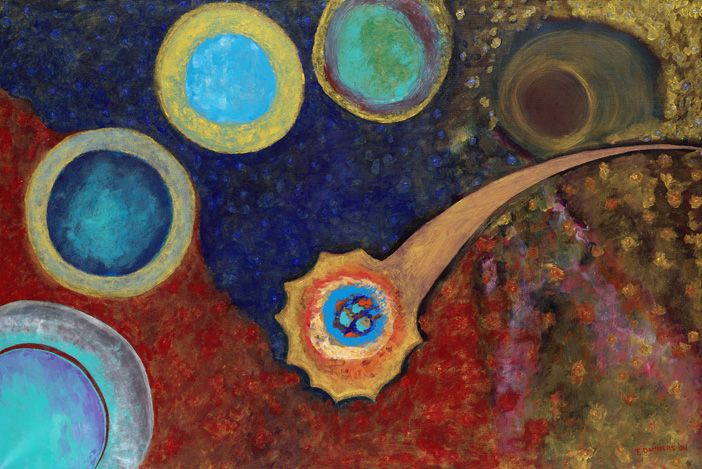 Cosmos   2004 acryl / cotton 39 X 59 inch  Copyright © F.Dammers Fine Art - All rights reserved.