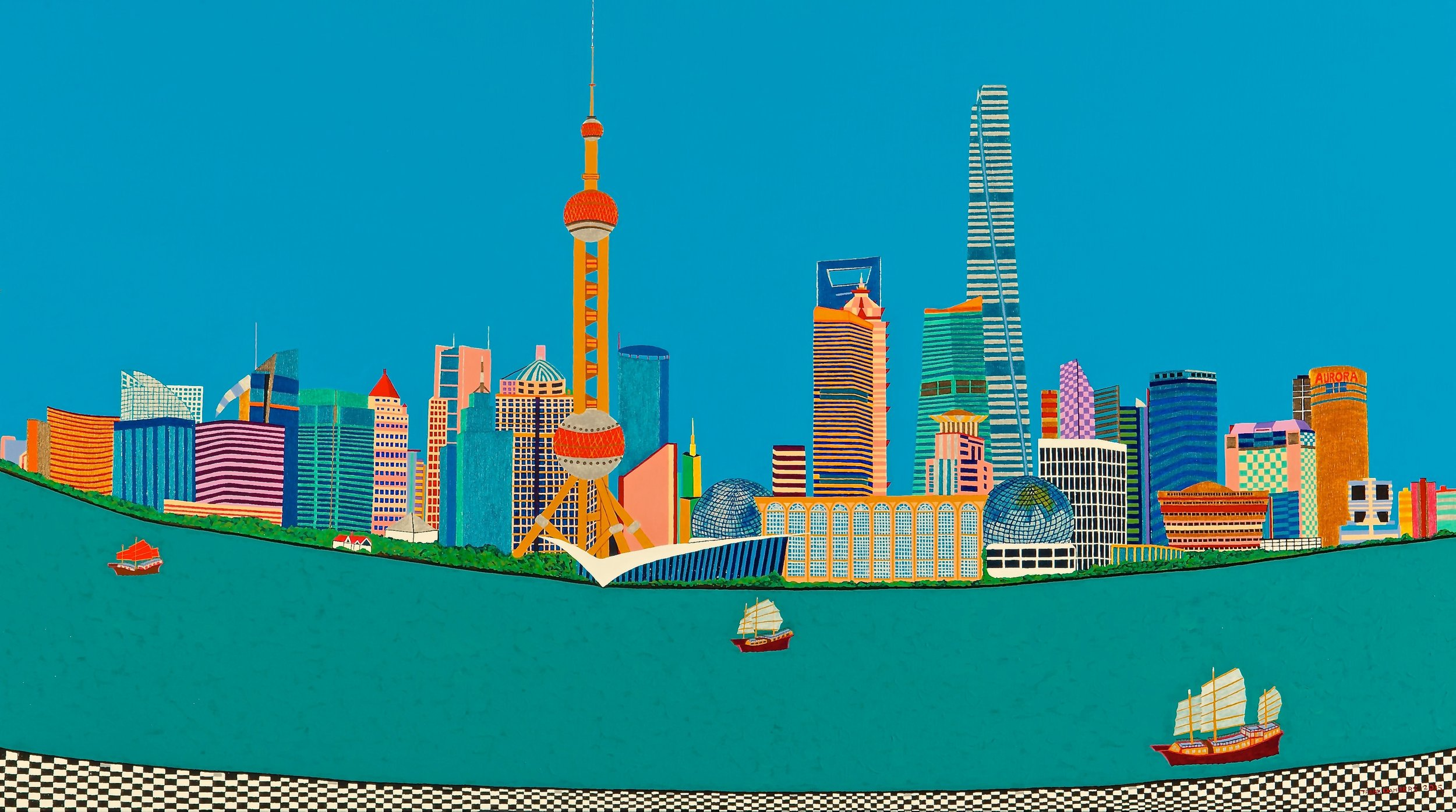 Pudong from the Bund Shanghai   Pudong from the Bund Shanghai, 2015, acryl / Belgian linnen 35,4 X 63 inch  Copyright © F.Dammers Fine Art - All rights reserved.