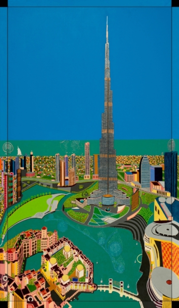 DUBAI   Dubai, 2016, acryl / Belgian linnen 35,4 x 63 inch Note: all sides are painted  Copyright © F.Dammers Fine Art - All rights reserved.