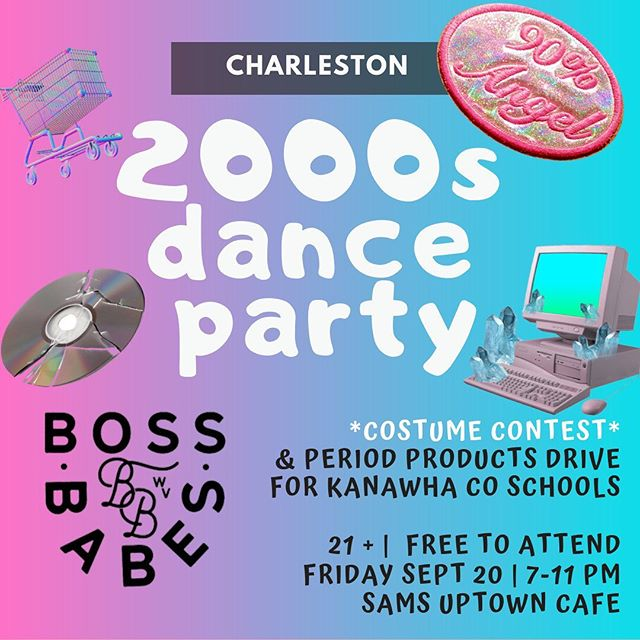 ‼️CHARLESTON‼️ we are psyched to announce our first event of the season - 2000s dance party. Less programming, more dancing. 🌸THIS IS A THEME PARTY🌸 bring your butterfly clips and handkerchief hems. ☀️Party is free & open to all. We are asking for PERIOD PRODUCTS as donations to distribute to local schools. See ya there, babes! 💞