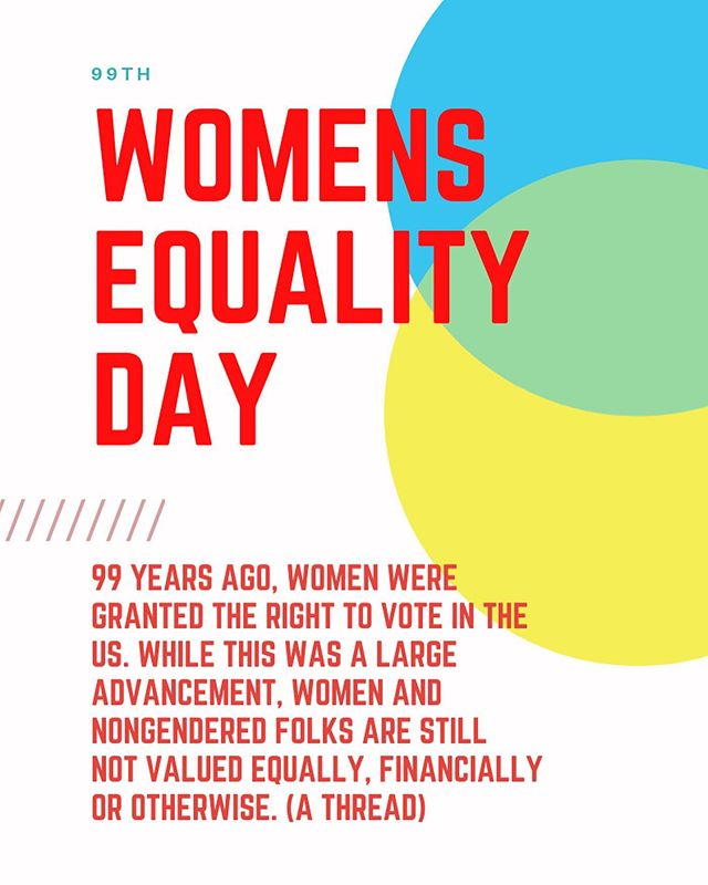 It's the 99th anniversary of women gaining the the right to vote! We still have a looooooong af way to go for equality. As men, as white women — everyone needs to do the work. Above are some slides about equality and policies to move us forward.