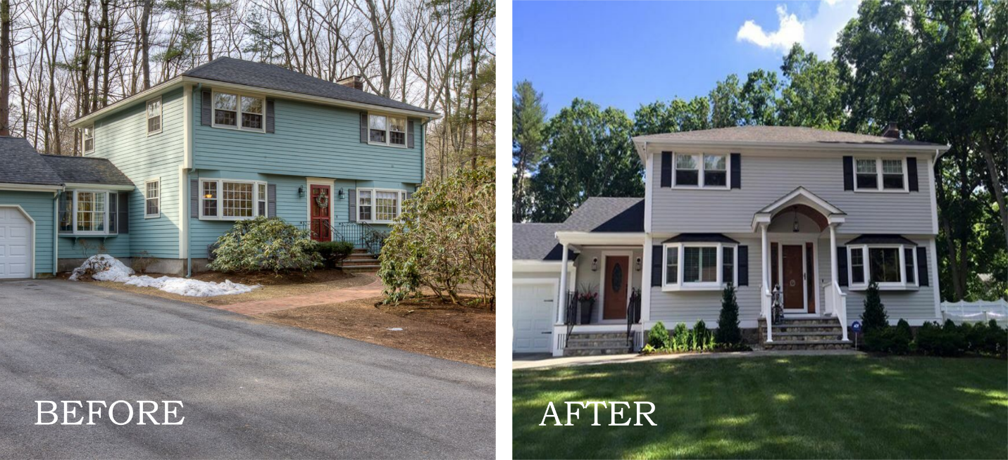 New siding, updated landscaping, a new entry way, and bright door to a renovated breezeway provide a fresh and modern touch.