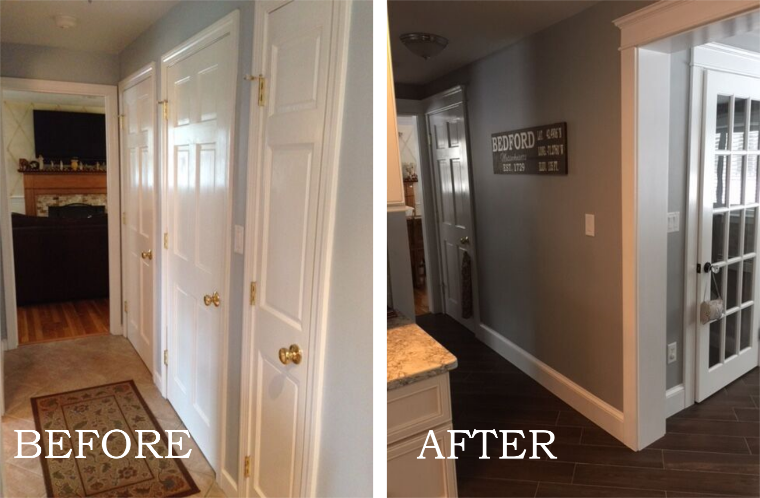 Removing a series of doors in a hallway allowed Ashlee to make better use of the space and build a walk-in pantry and linen closet.