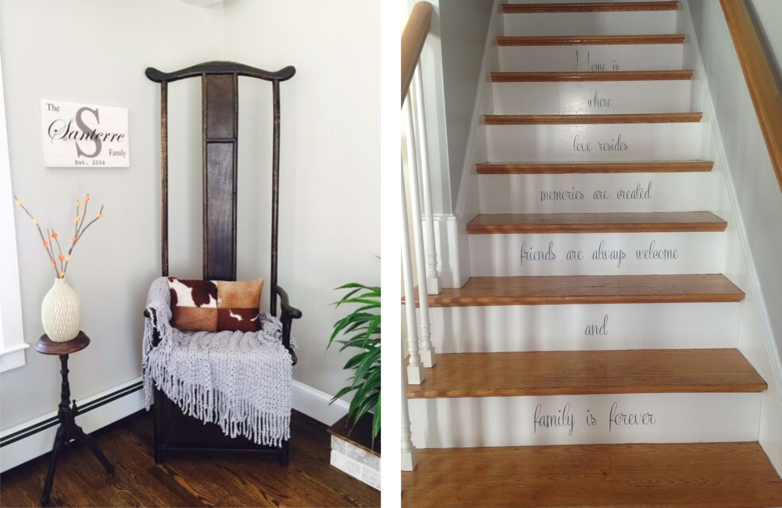Ashlee's flair for design is evident throughout the home. Here a unique chair finds home in a corner and stencils greet visitors and remind the family how treasured they are.