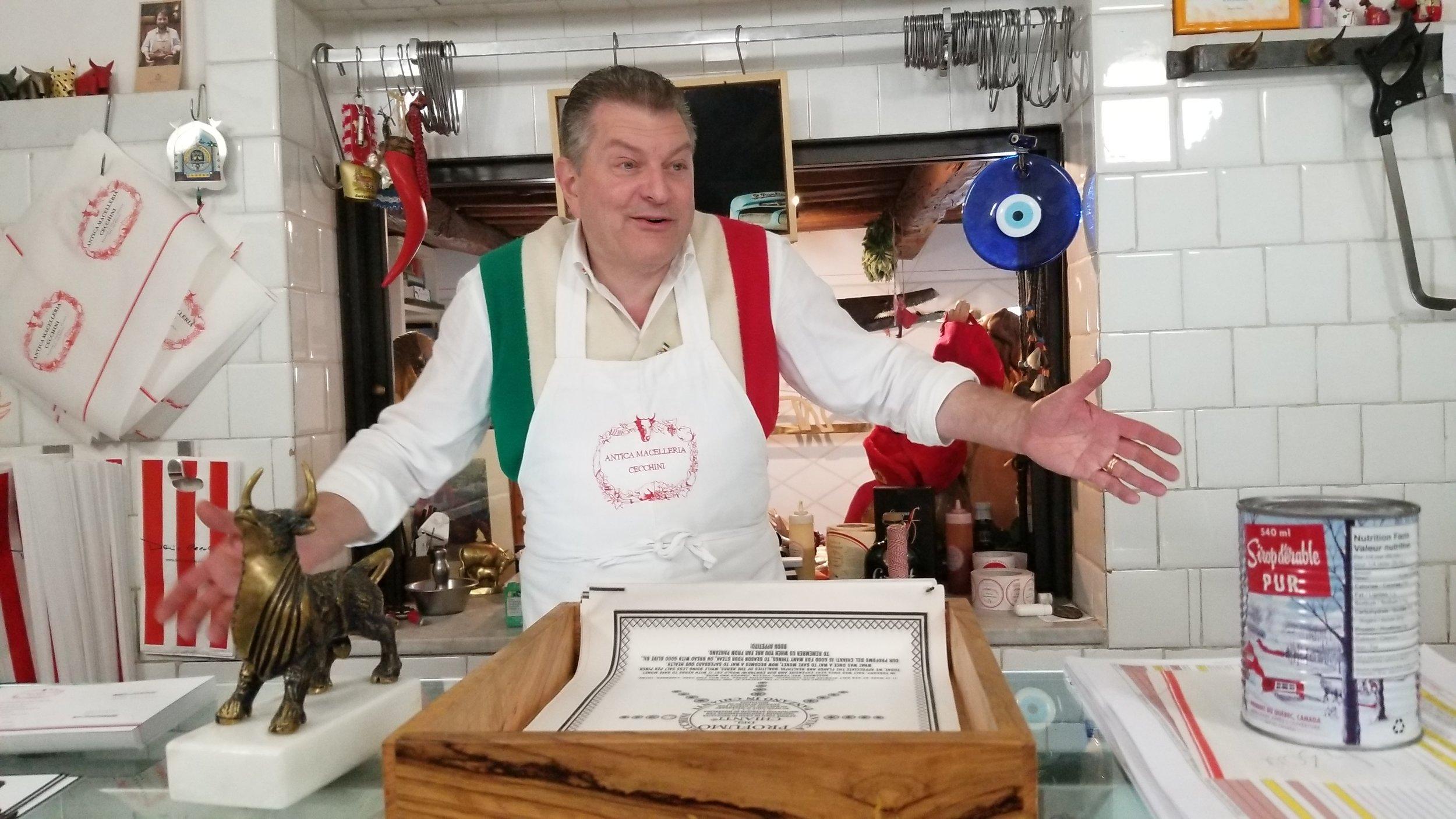 Dario Cecchini at home behind the butcher case