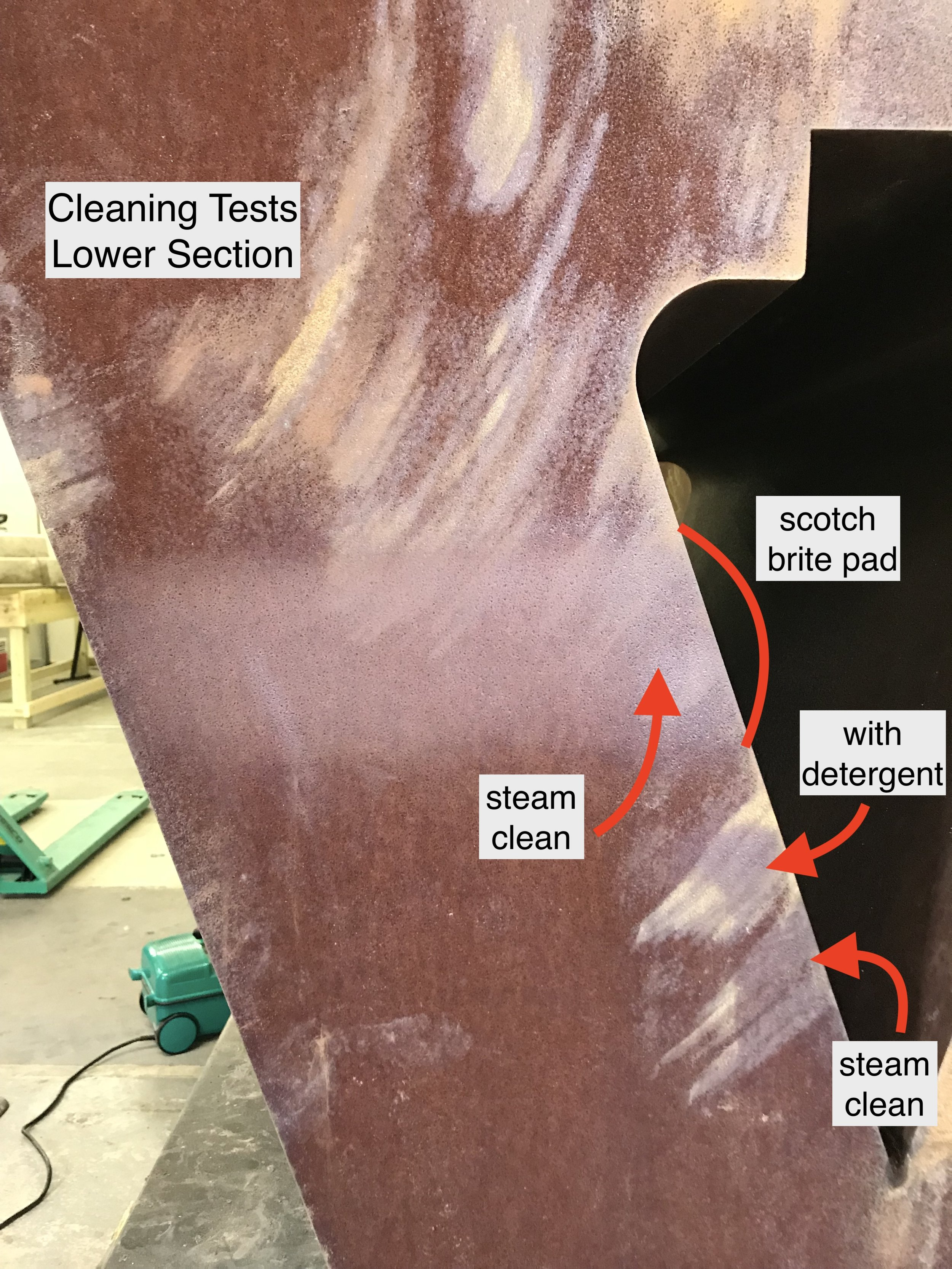 Lower section cleaning tests
