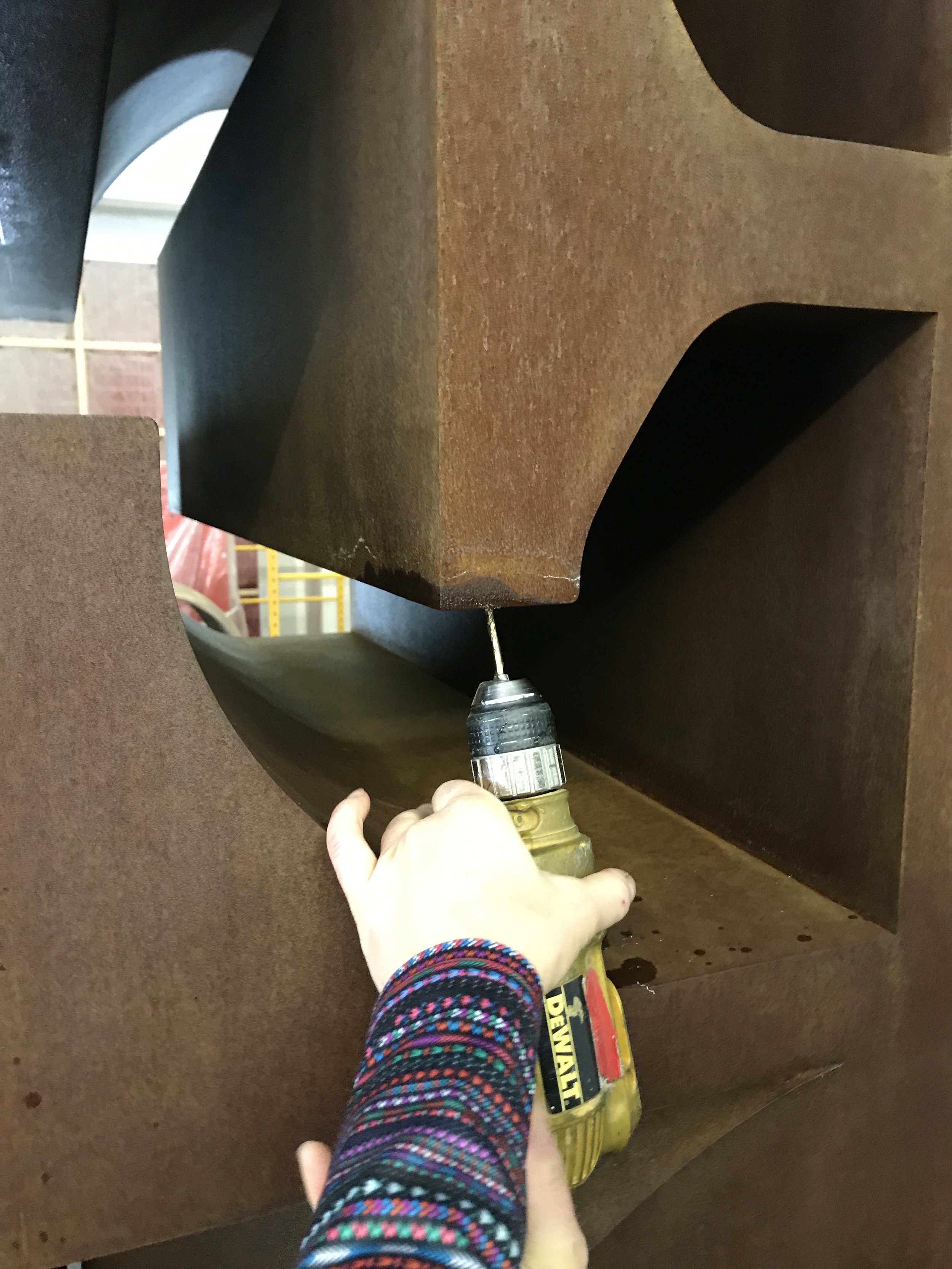 During treatment drilling a weep hole