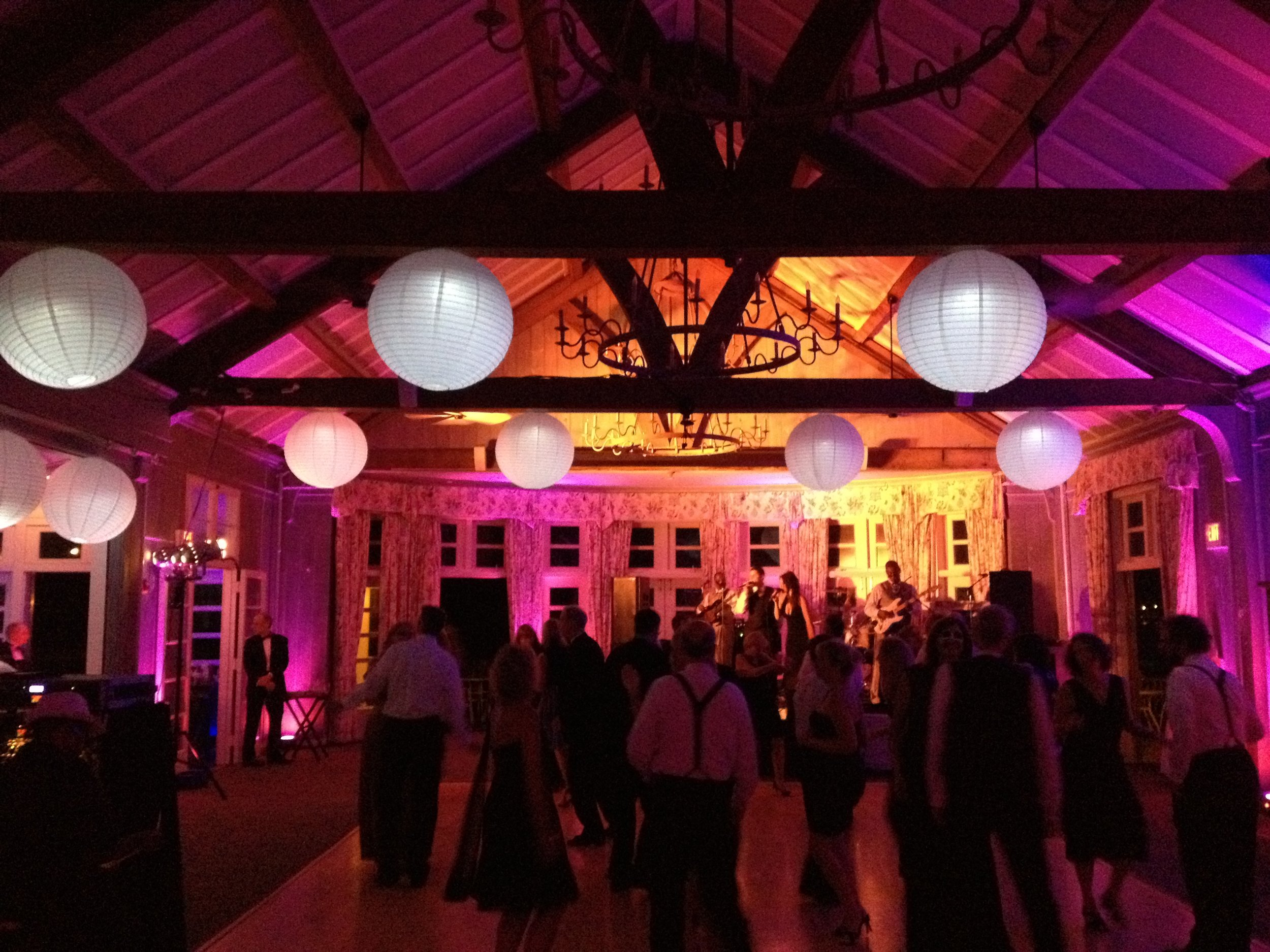 Chinese lanterns and uplighting at The Dunes Club, Narragansett