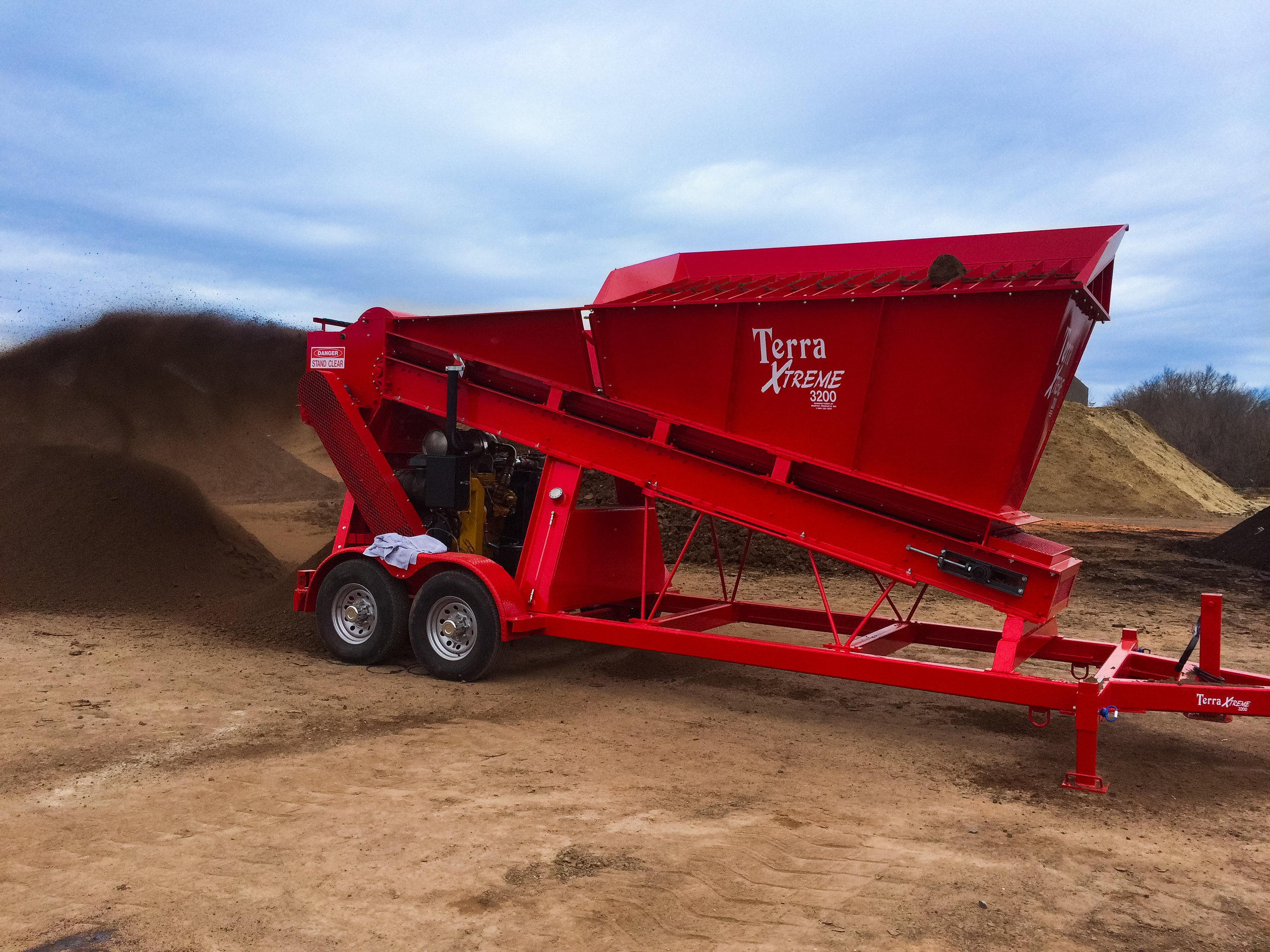 "Terra XTREME 3200 - The Terra 3200 works perfectly in the finishing of compost and manure products. The 3200 features a loading height of 8'3"", and a maximum processing capacity of 200 cubic yards per hour. The 3200 is our original model, still in production after 40 years and widely requested...Learn More >>"