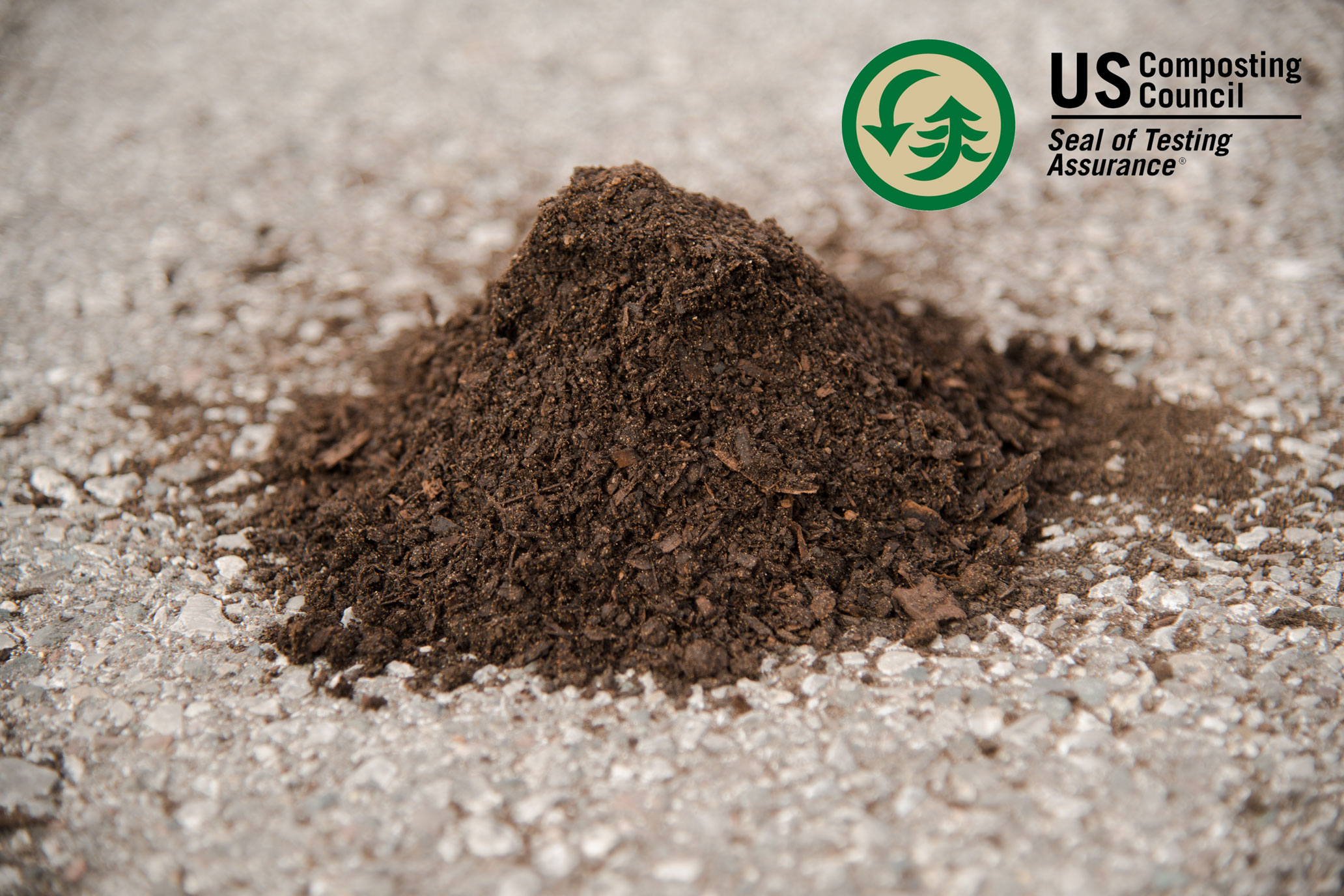 Murphy Compost - A light colored blend derived from the combining and aging of stable cleanings, manure, and a slight amount of green waste. When fully aged, this blend is processed through a trommel screen. This compost holds the Seal of Testing Assurance from the US Composting Council.
