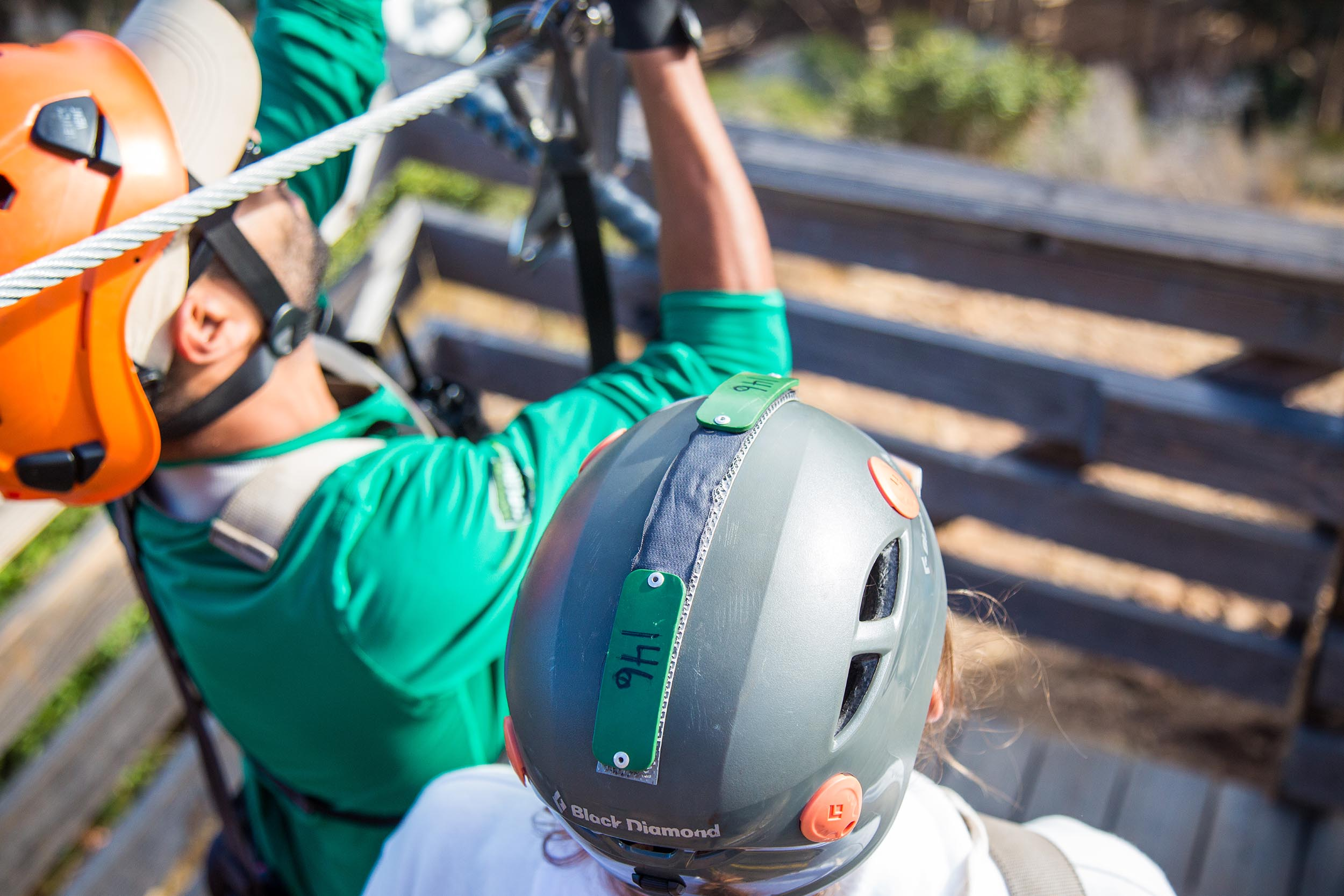 - A removable helmet tag worn by a guests at Santa Catalina Island Eco Tours.