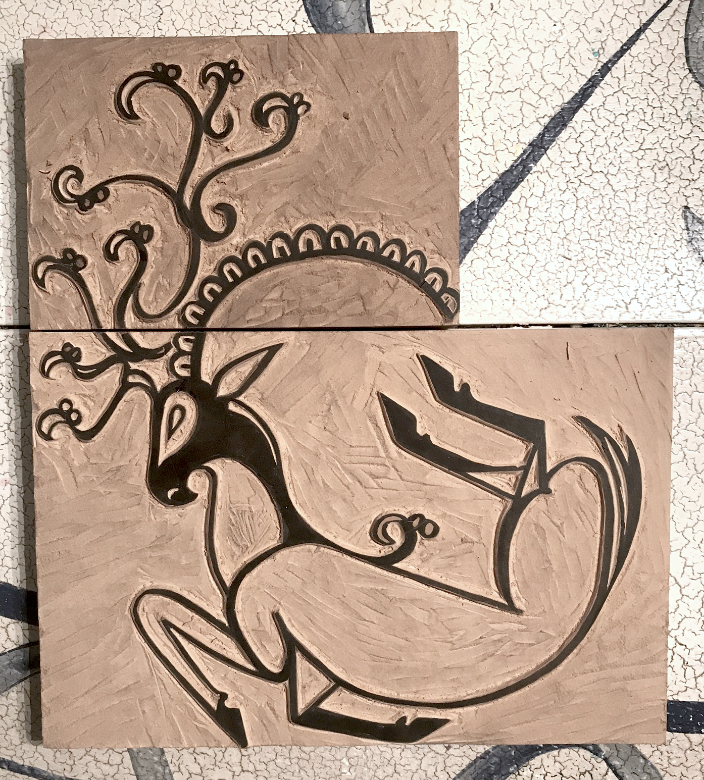 Finished Block! I went up with the horn design, instead of more to left. My initial thought was to have it be closer to the original tattoo, and have it be more of a complete circle. Ultimately I liked the implication of the circle better, and also thought I could more easily incorporate other blocks I have into the design. For example I could do a set of fern prints in the negative space to have a woodland feel, then switch it out for florals and have a spring vibe.