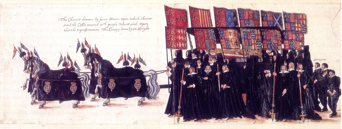 Elizabeth the First's funeral procession 1603 complete with horse dressings and banners. The Puritans would have had their own iconography instead of the hearld emblems. From www.elizabethi.org/contents/death/
