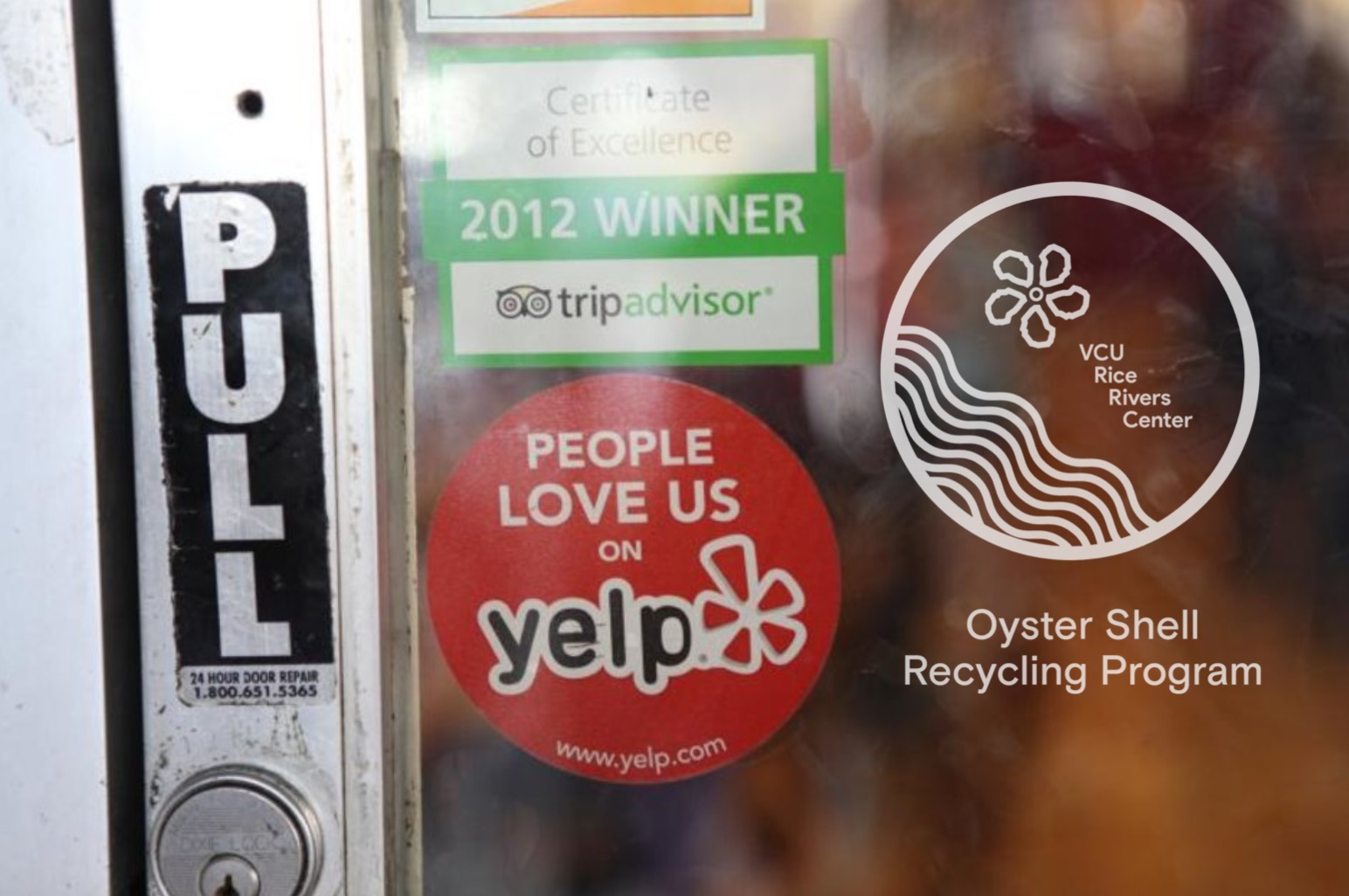 Window decals will put the RRC name right on the door of participating Oyster Shell Recycling Program restaurants.