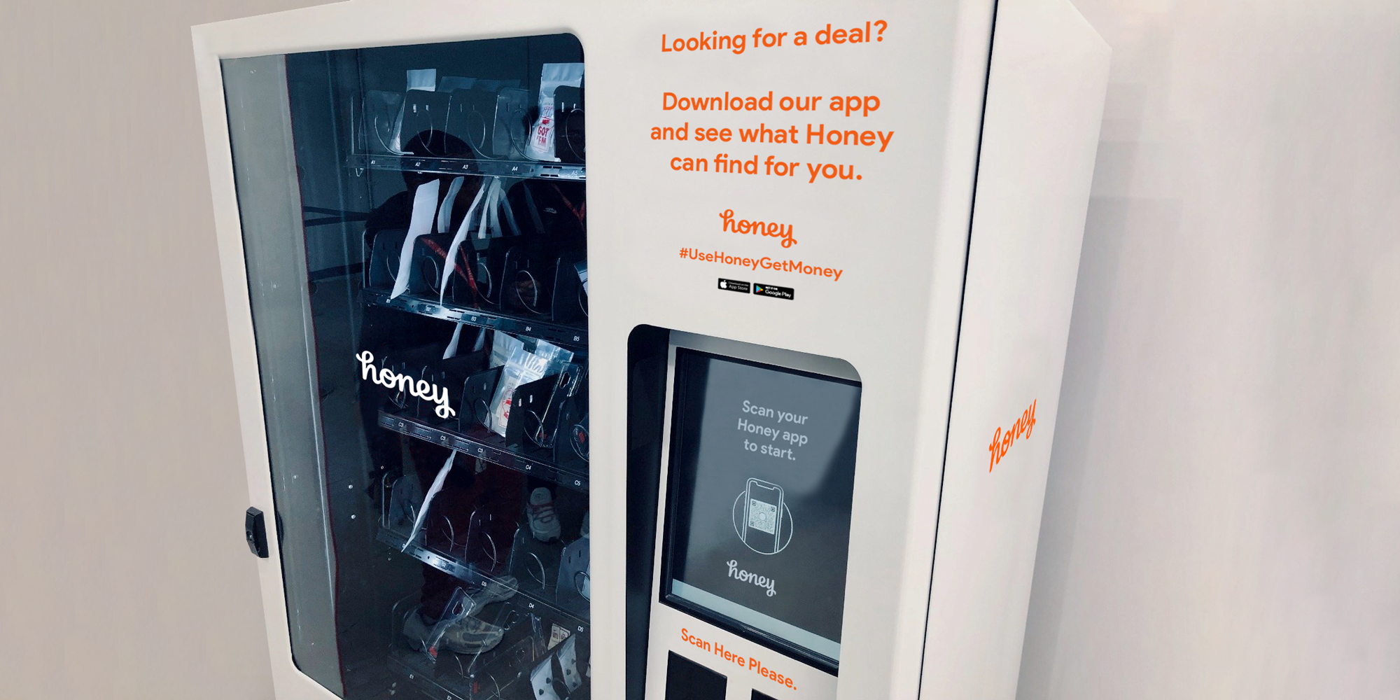 We'll set up vending machines that feature great deals — but you can only use it if you download the Honey app.