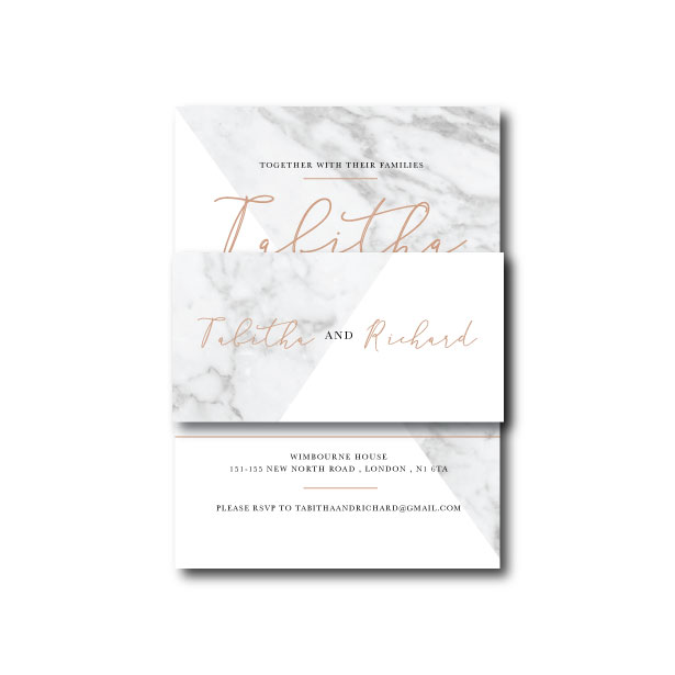Modern Marble Belly Band - To fit invitation