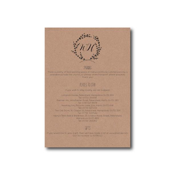 Whimsical Wreath Information Card - A6