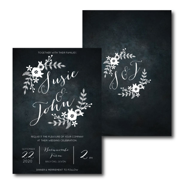 Chalkboard Wedding Invitation - A5 or A6
