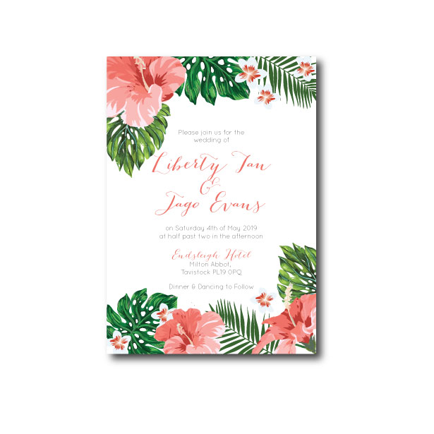 Hawaiian Tropical Wedding Invitation - A6